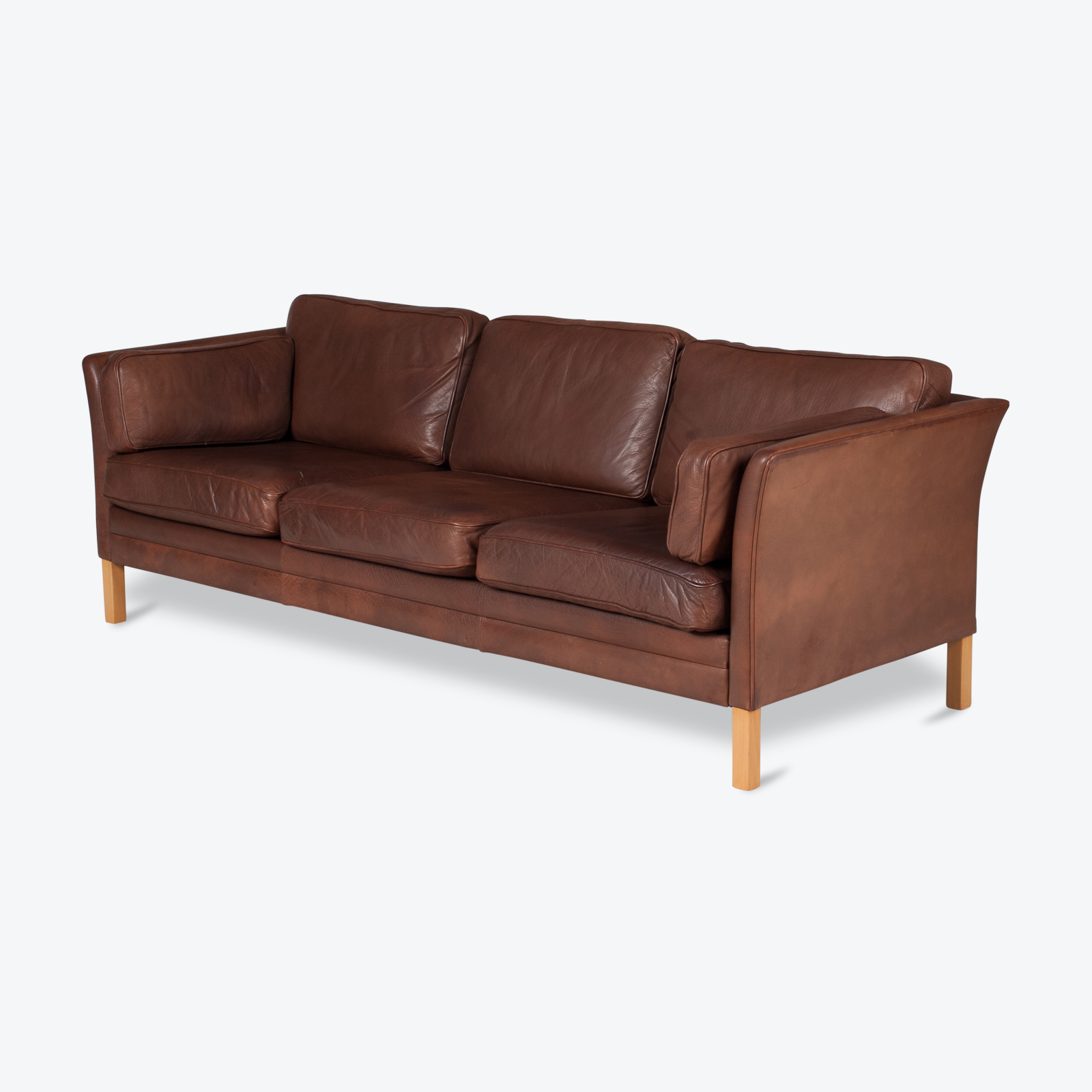 3 Seat Sofa In Brown Leather With Beech Legs, 1960s, Denmark Hero 1