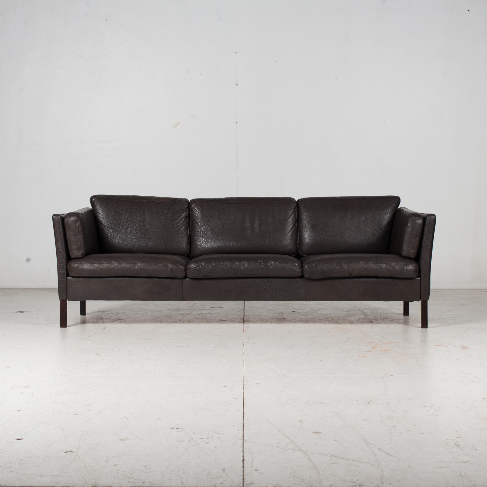 3 Seat Sofa In Dark Brown Leather, 1960s, Denmark 1