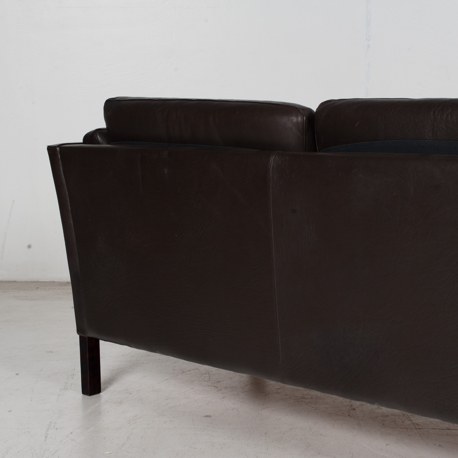 3 Seat Sofa In Dark Brown Leather, 1960s, Denmark 10