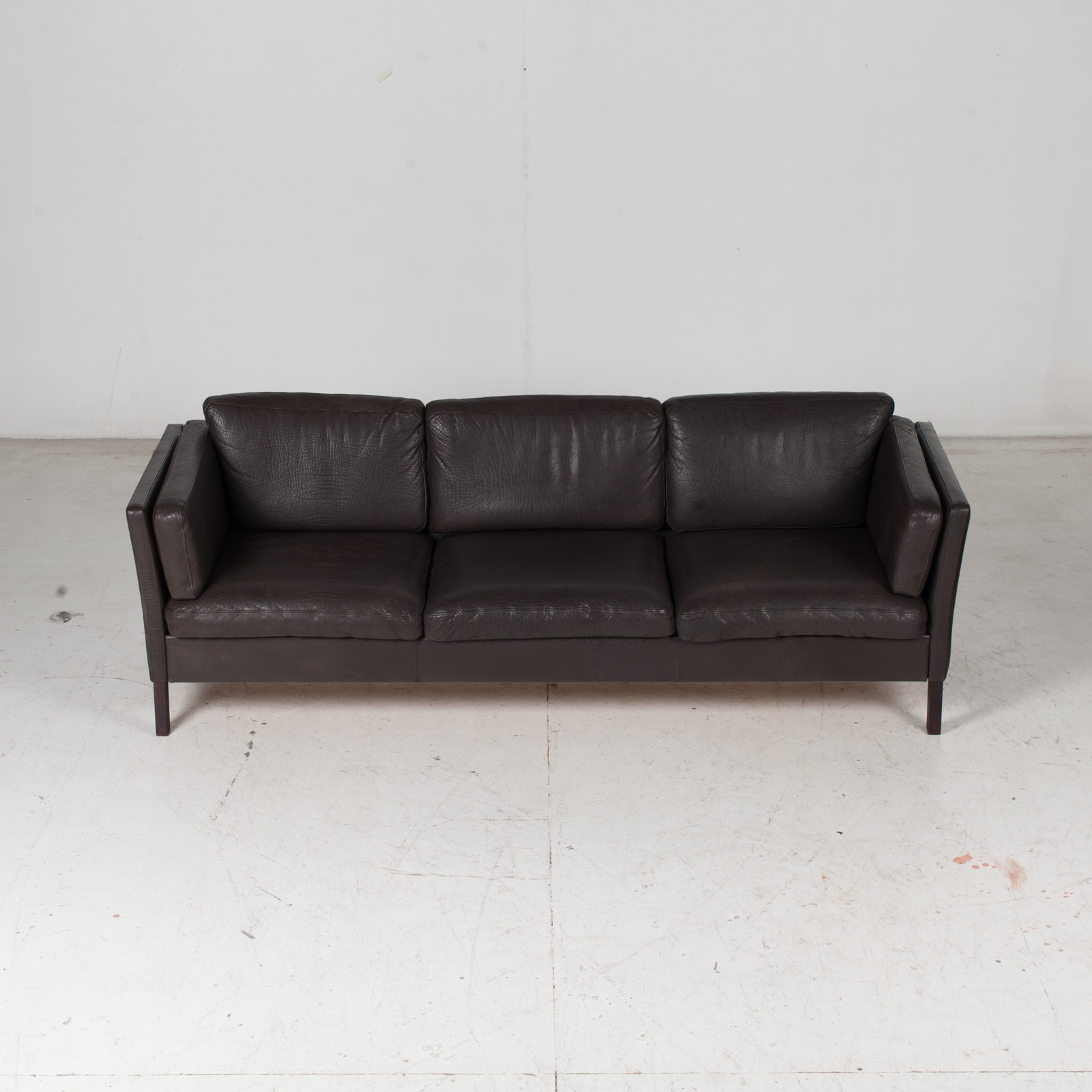 3 Seat Sofa In Dark Brown Leather, 1960s, Denmark 3