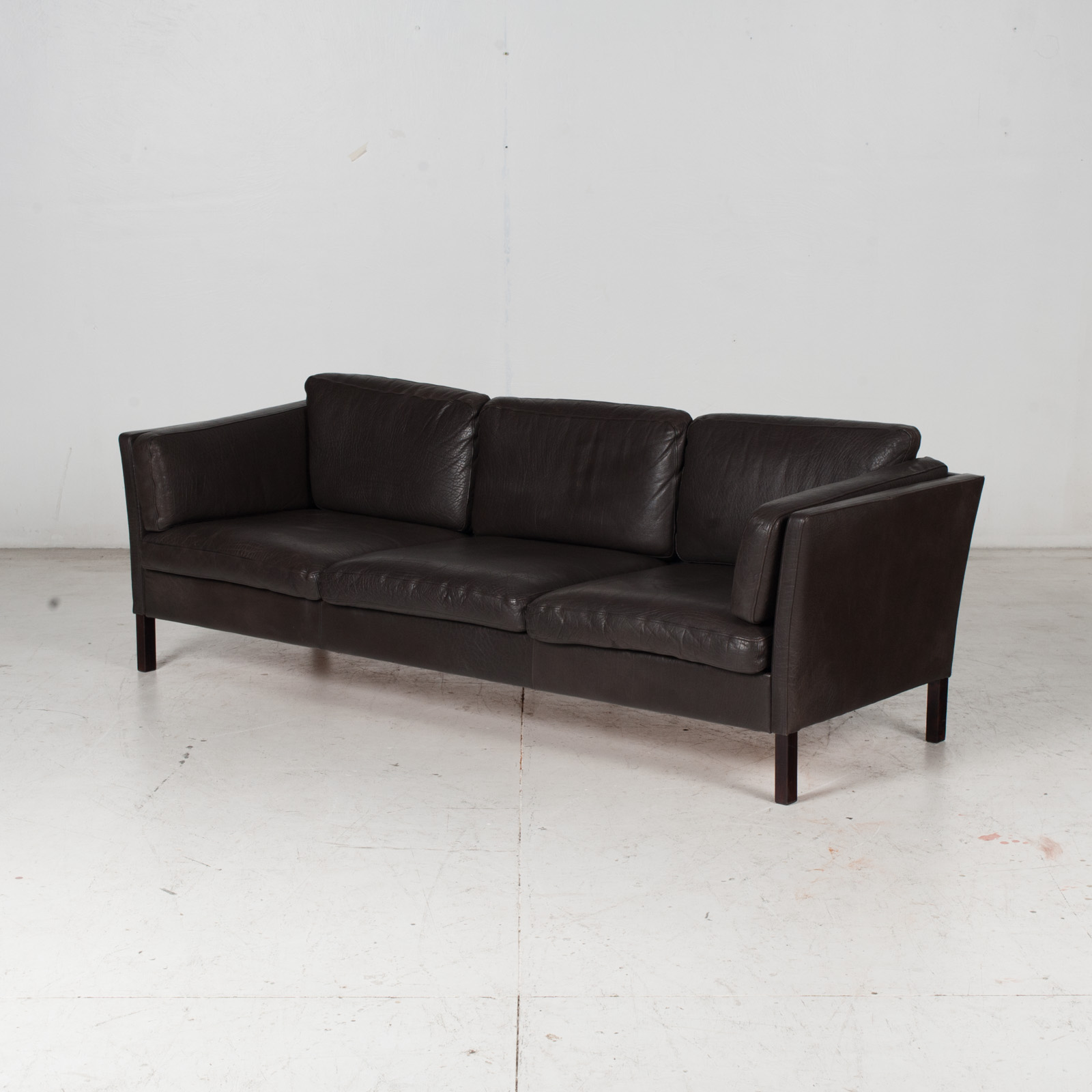 3 Seat Sofa In Dark Brown Leather, 1960s, Denmark 4