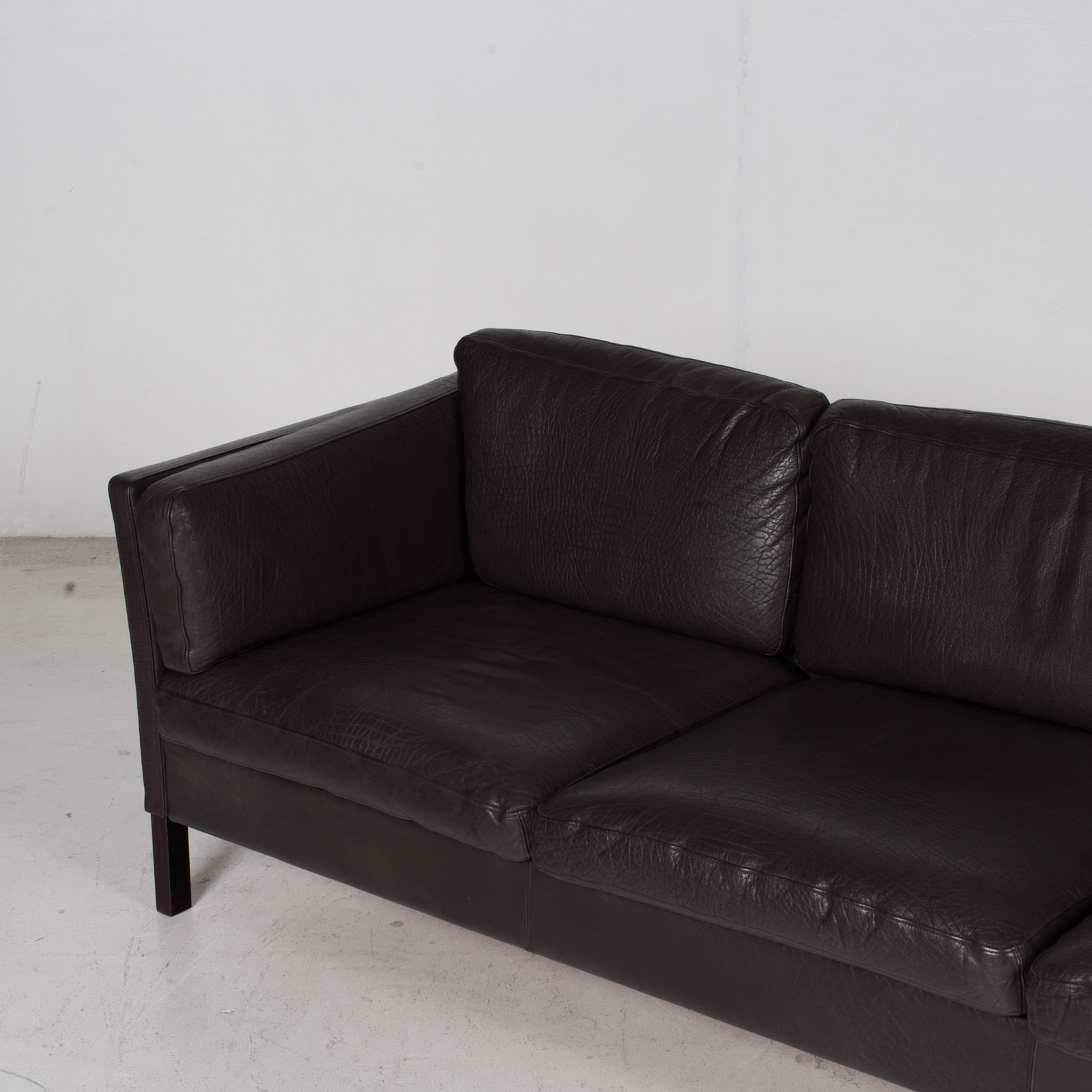 3 Seat Sofa In Dark Brown Leather, 1960s, Denmark 5