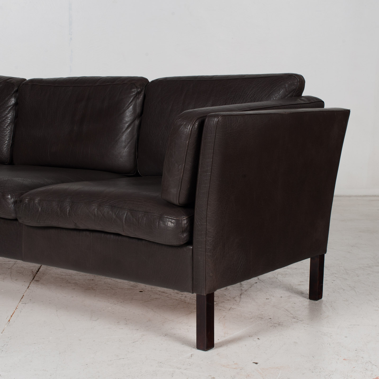 3 Seat Sofa In Dark Brown Leather, 1960s, Denmark 6