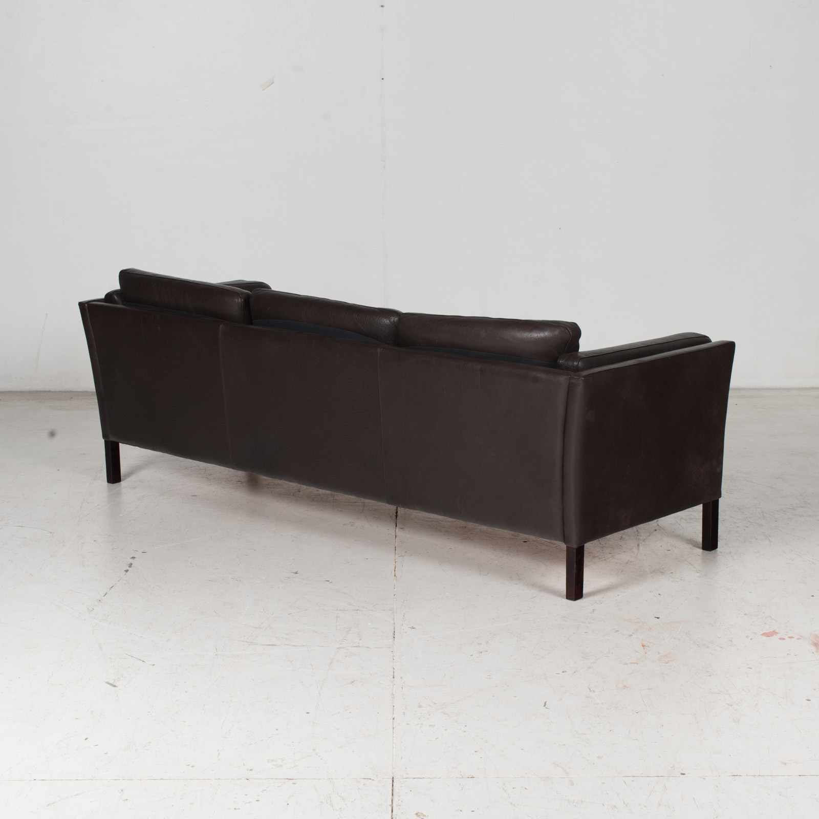 3 Seat Sofa In Dark Brown Leather, 1960s, Denmark 8