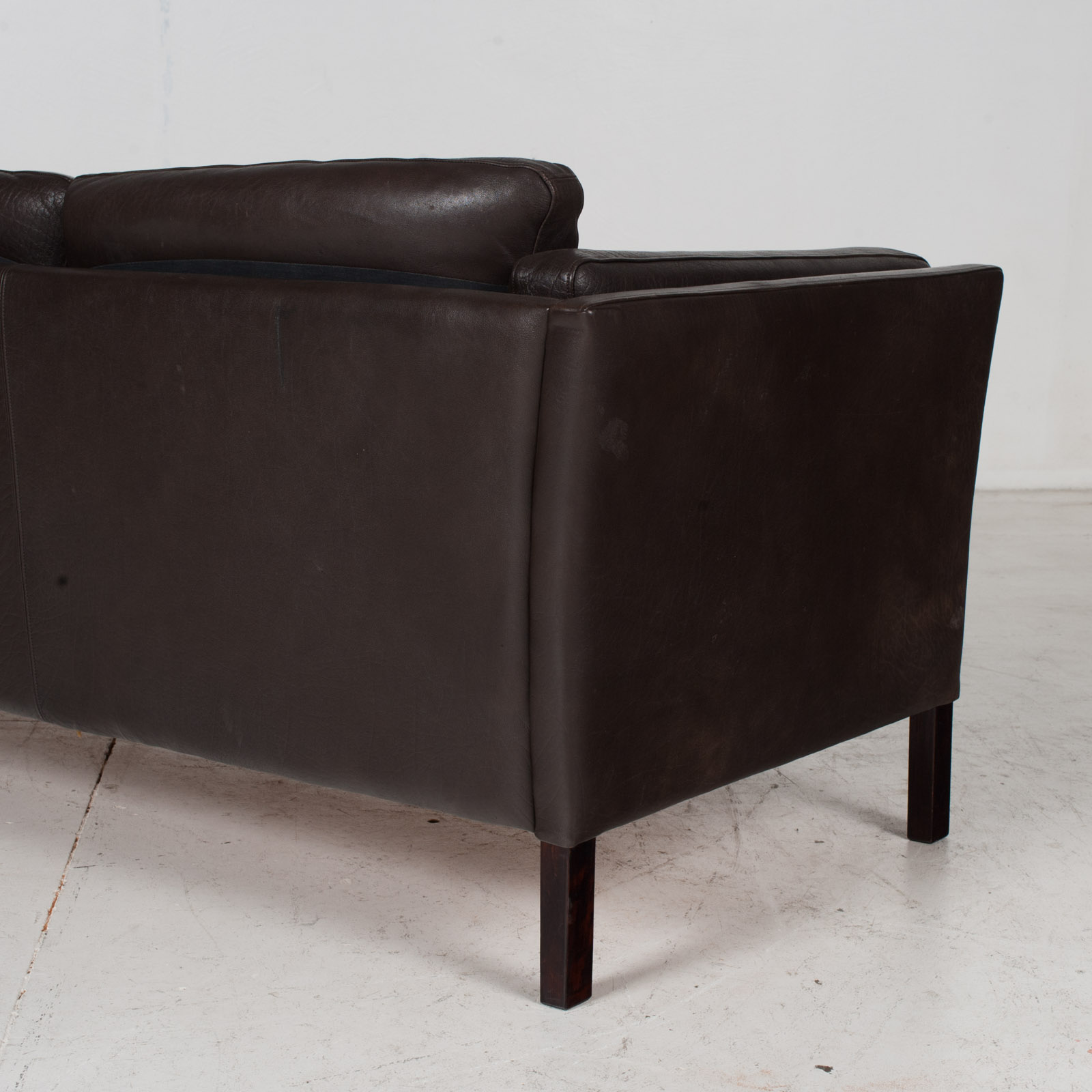 3 Seat Sofa In Dark Brown Leather, 1960s, Denmark 9