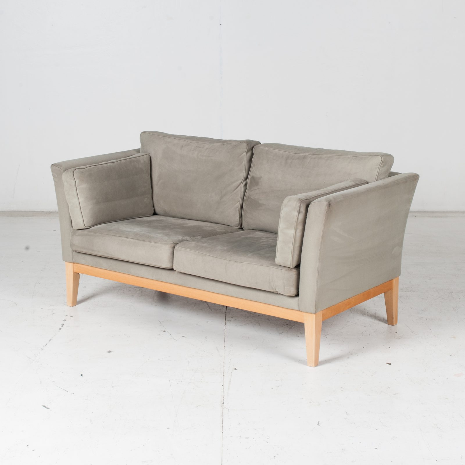 2 Seat Sofa By Stouby In Grey Macro Suede, 1960s, Denmark High Res
