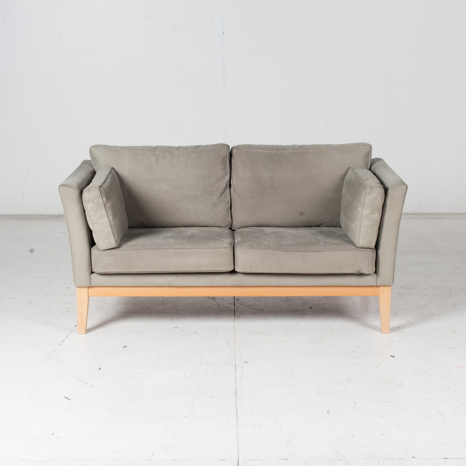 2 Seat Sofa By Stouby In Grey Macro Suede, 1960s, Denmark2