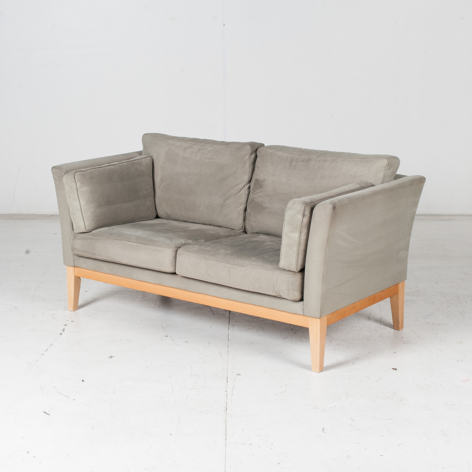 2 Seat Sofa By Stouby In Grey Macro Suede, 1960s, Denmark4