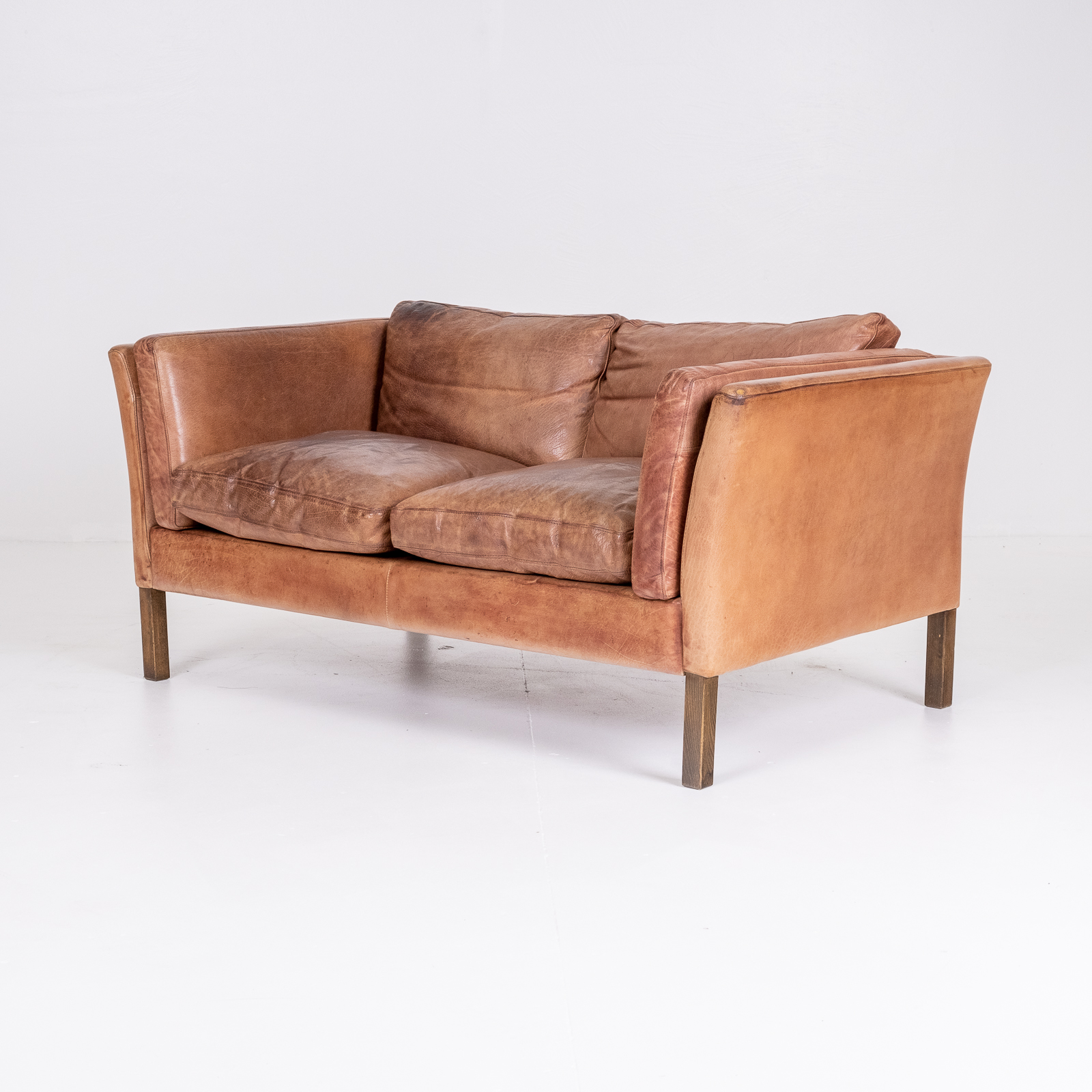 2 Seat Sofa By Stouby In Tan Leather, 1960s, Denmark