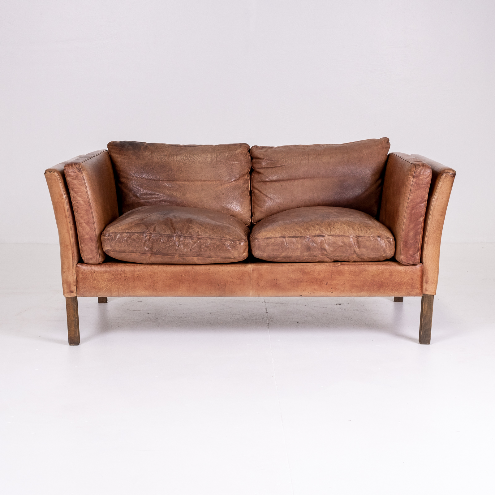 2 Seat Sofa By Stouby In Tan Leather, 1960s, Denmark 03