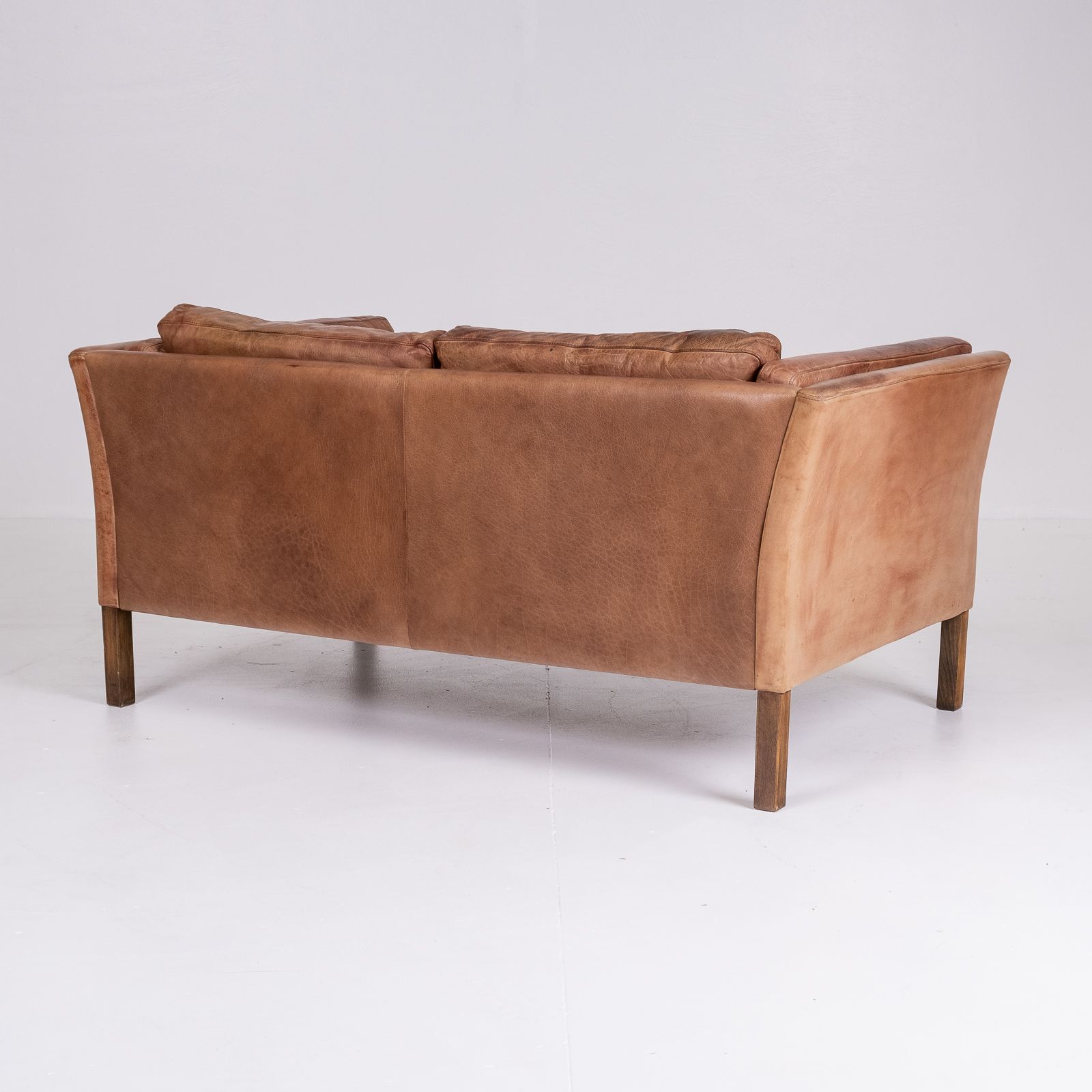 2 Seat Sofa By Stouby In Tan Leather, 1960s, Denmark 04