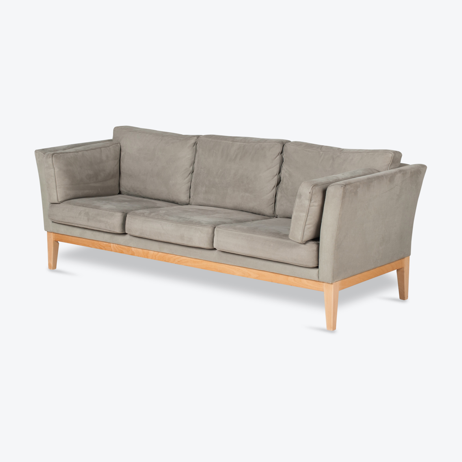 3 Seat Sofa By Stouby In Grey Macro Suede, 1960s, Denmark Hero