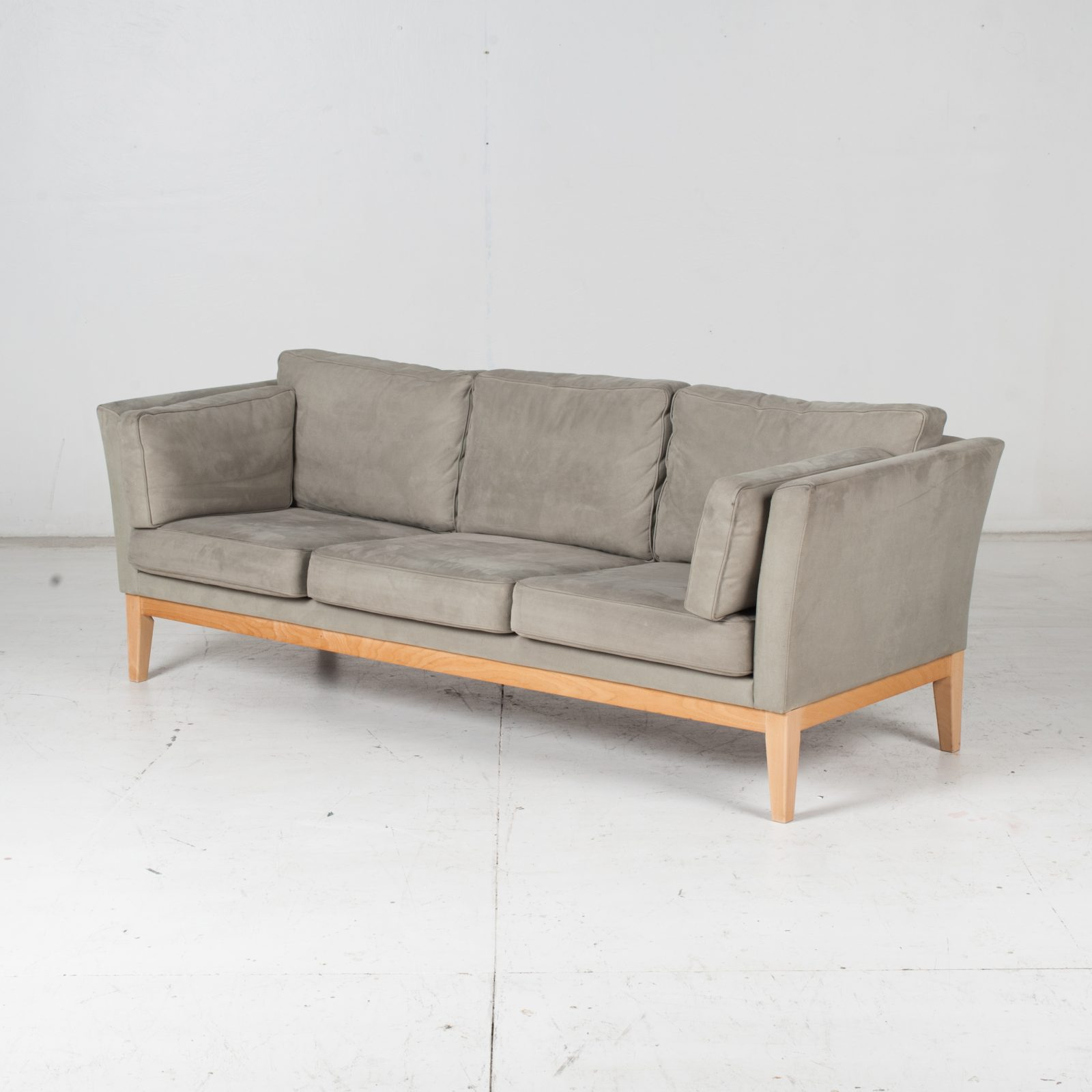 3 Seat Sofa By Stouby In Grey Macro Suede, 1960s, Denmark Highres