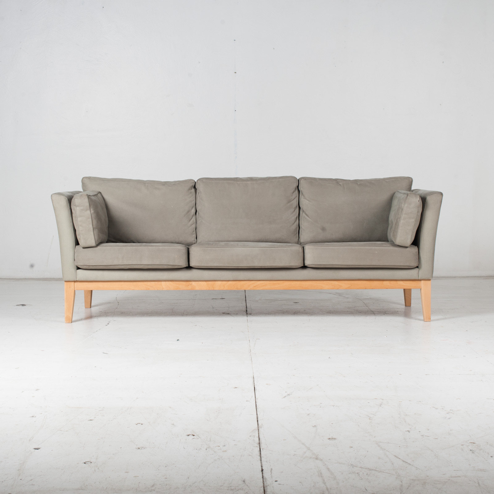 3 Seat Sofa By Stouby In Grey Macro Suede, 1960s, Denmark1