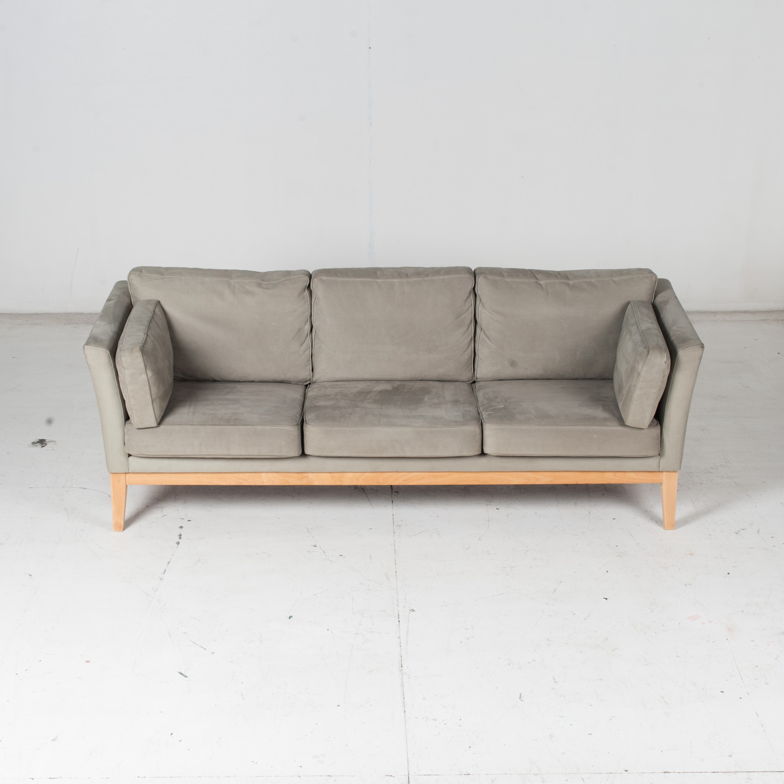 3 Seat Sofa By Stouby In Grey Macro Suede, 1960s, Denmark3