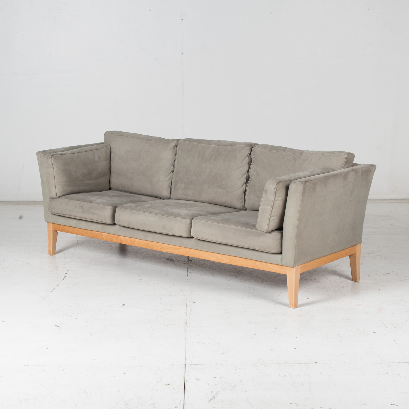 3 Seat Sofa By Stouby In Grey Macro Suede, 1960s, Denmark4