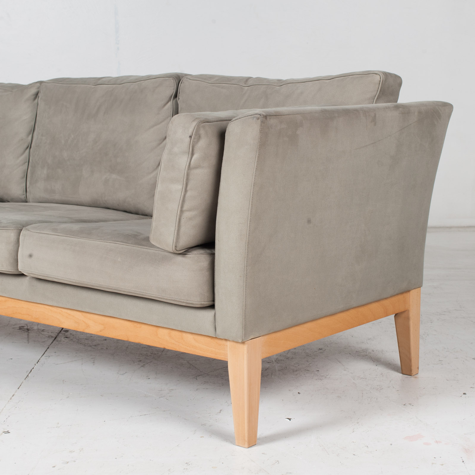 3 Seat Sofa By Stouby In Grey Macro Suede, 1960s, Denmark5