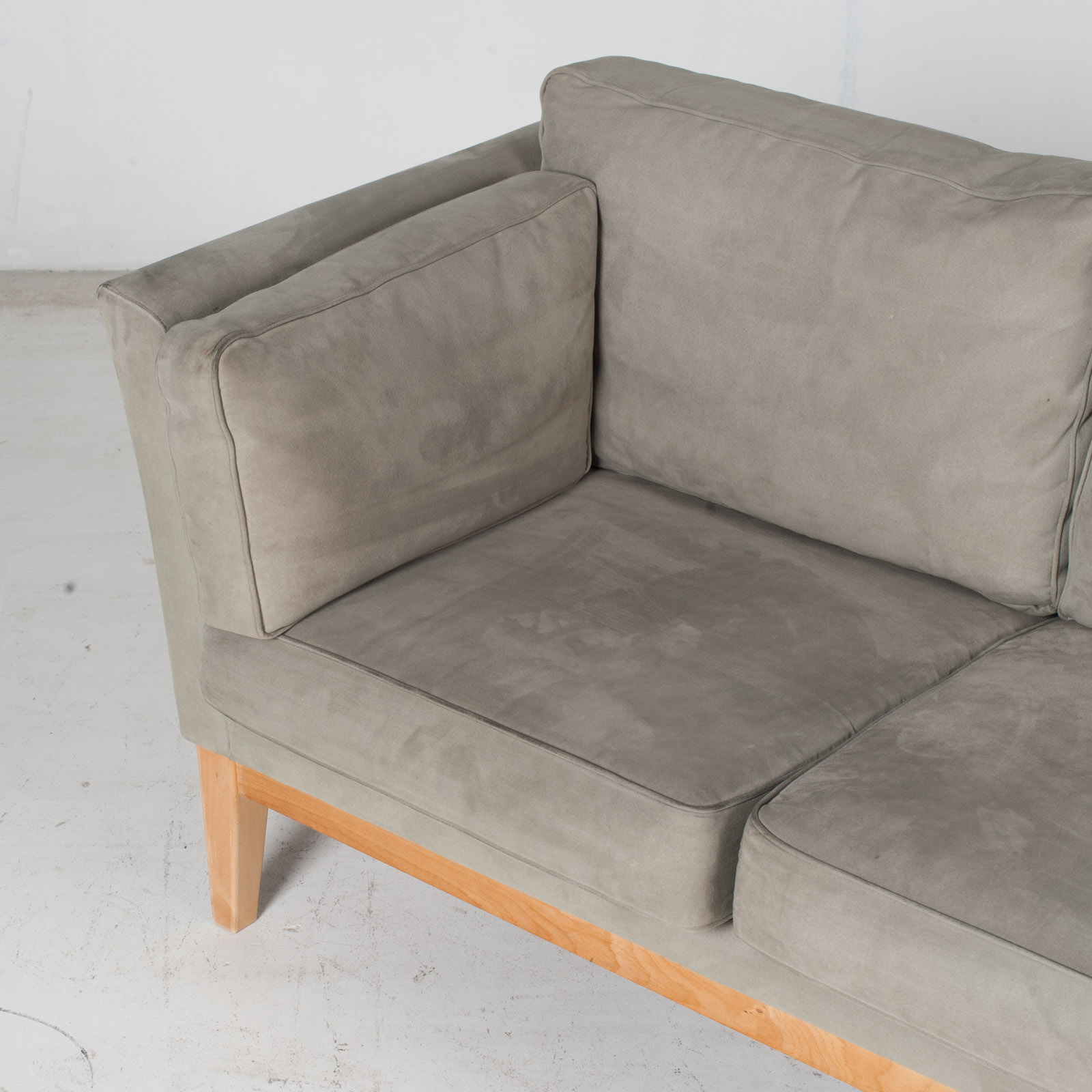 3 Seat Sofa By Stouby In Grey Macro Suede, 1960s, Denmark6