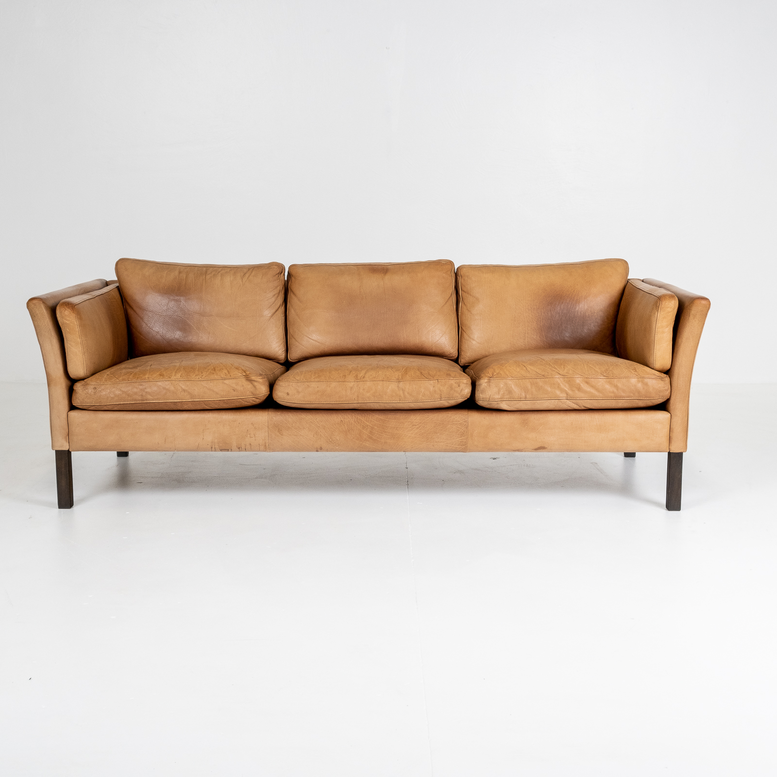 3 Seat Sofa By Stouby In Light Tan Leather, 1960s, Denmark 01