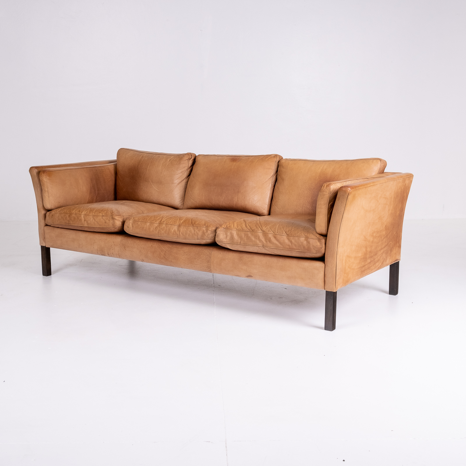 3 Seat Sofa By Stouby In Light Tan Leather, 1960s, Denmark 02