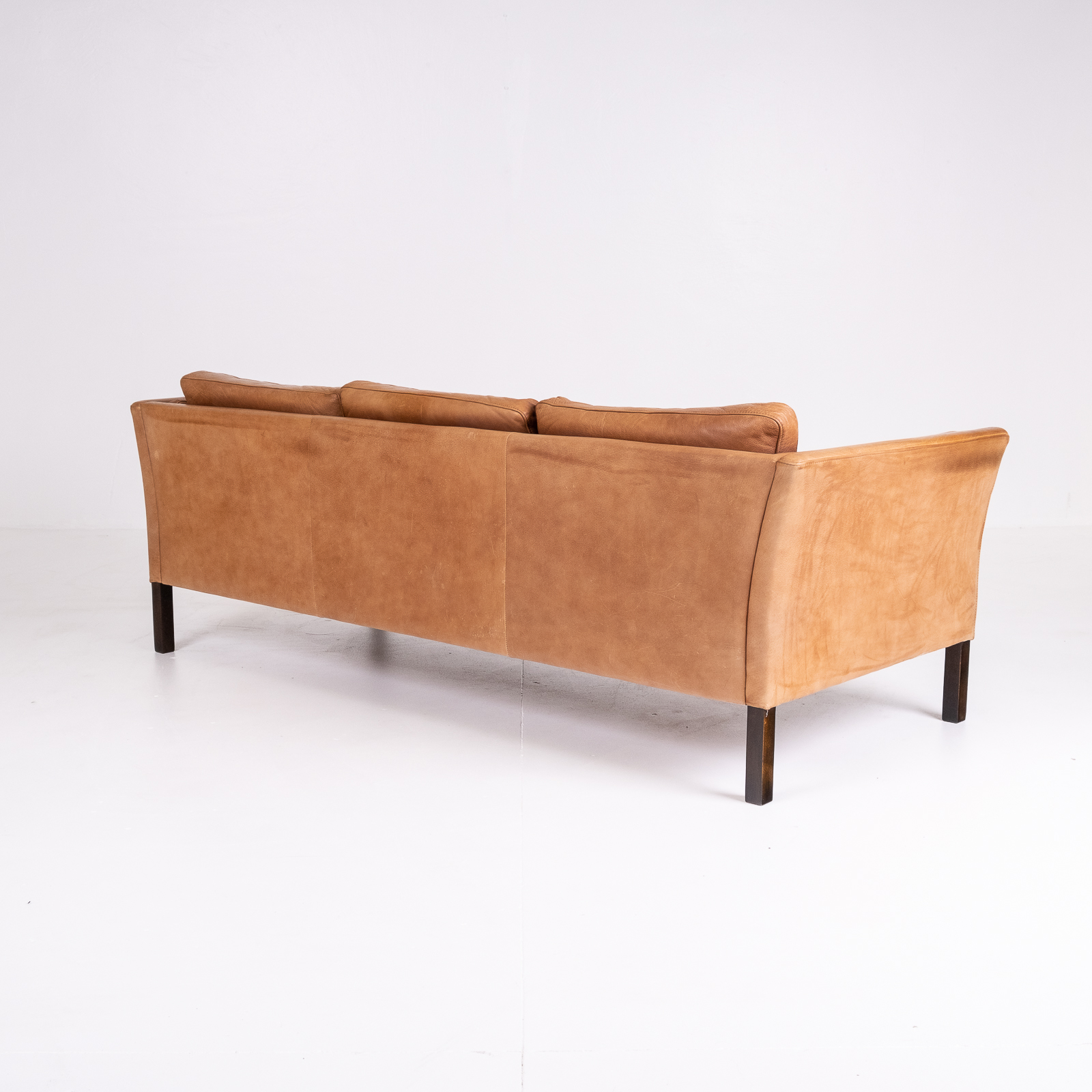 3 Seat Sofa By Stouby In Light Tan Leather, 1960s, Denmark 06