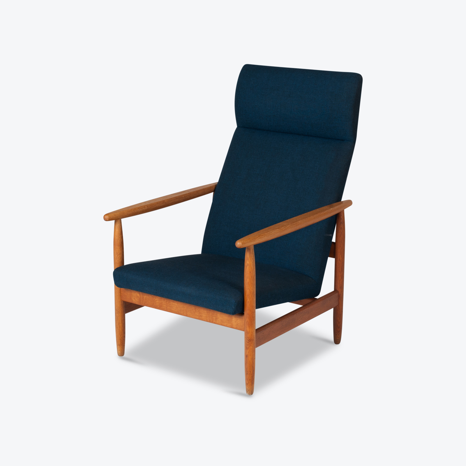 Armchair By Ejvind A. Johansson In Blue Upholstery, 1960s, Denmark Hero
