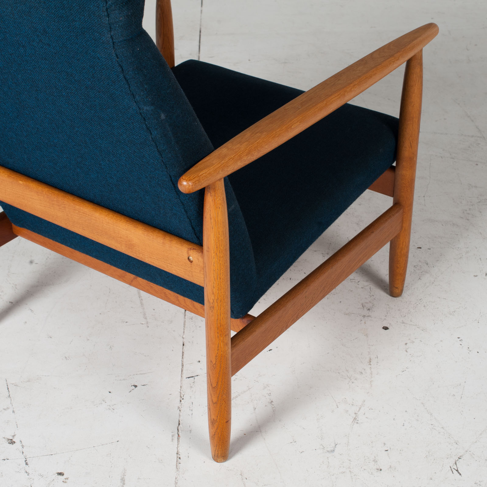 Armchair By Ejvind A. Johansson In Blue Upholstery, 1960s, Denmark10