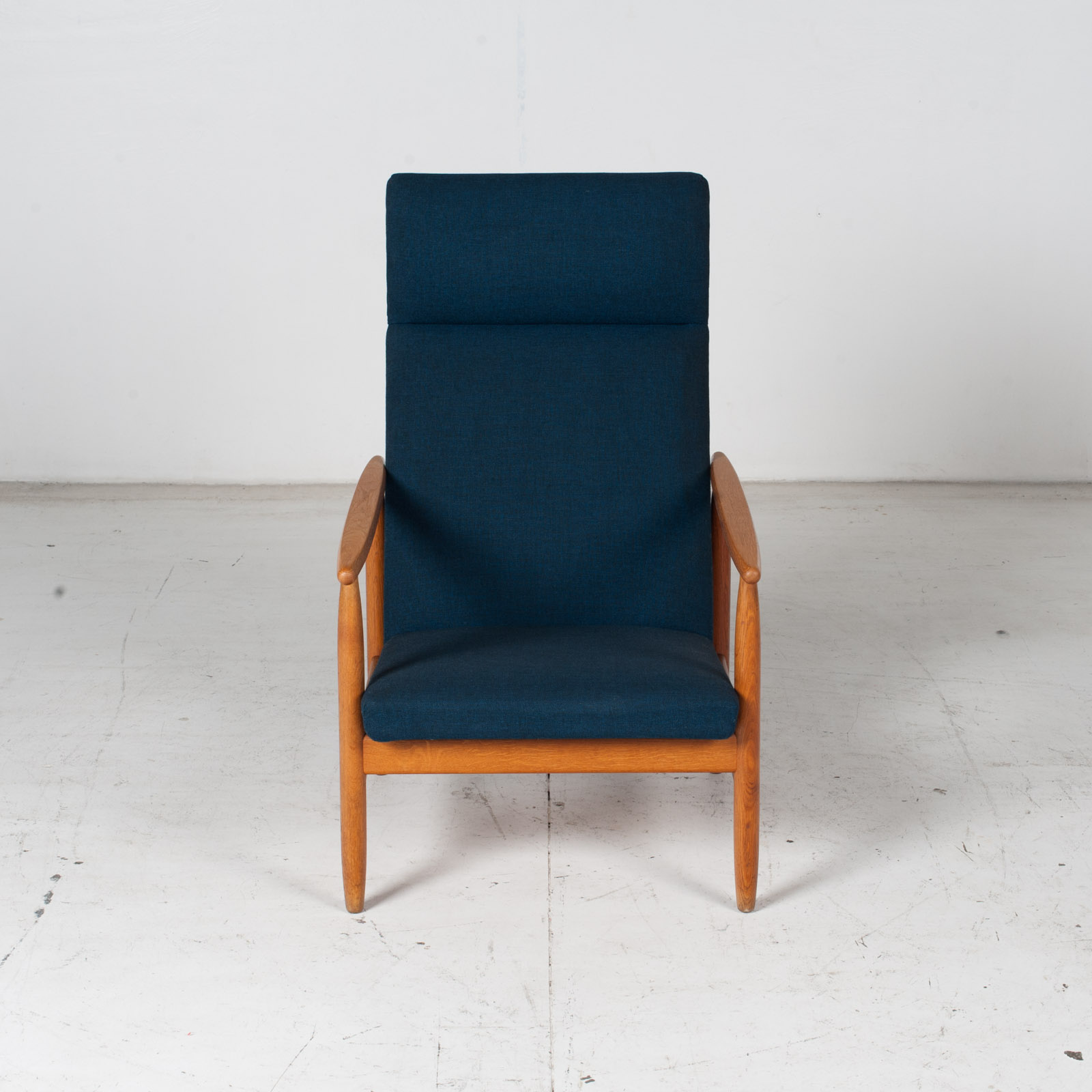 Armchair By Ejvind A. Johansson In Blue Upholstery, 1960s, Denmark2