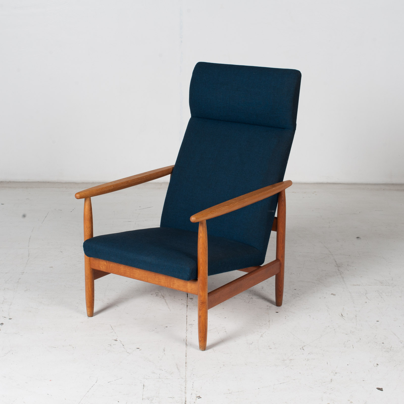 Armchair By Ejvind A. Johansson In Blue Upholstery, 1960s, Denmark4