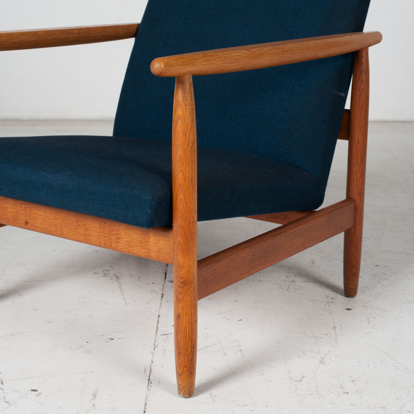 Armchair By Ejvind A. Johansson In Blue Upholstery, 1960s, Denmark6