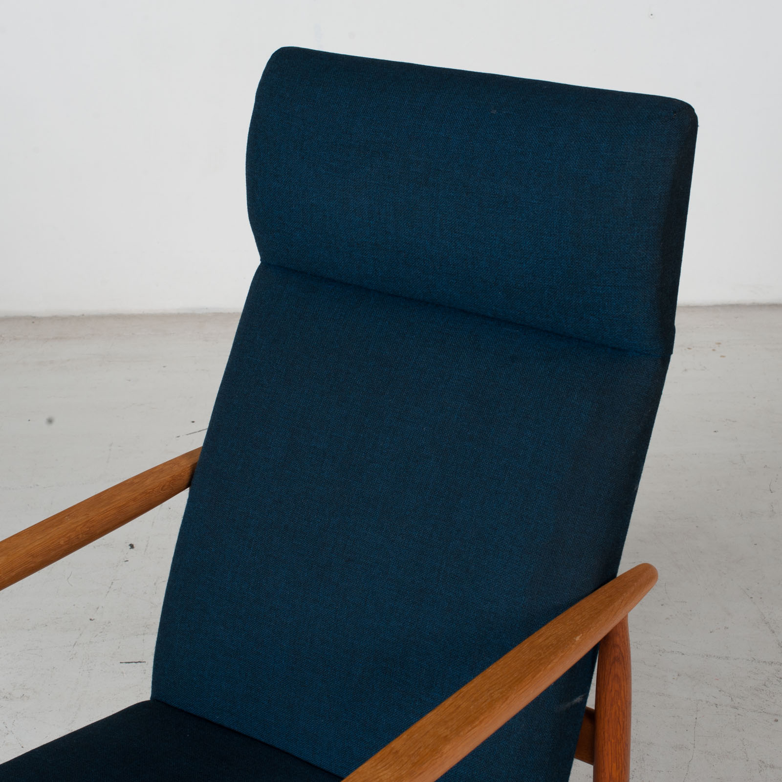 Armchair By Ejvind A. Johansson In Blue Upholstery, 1960s, Denmark7