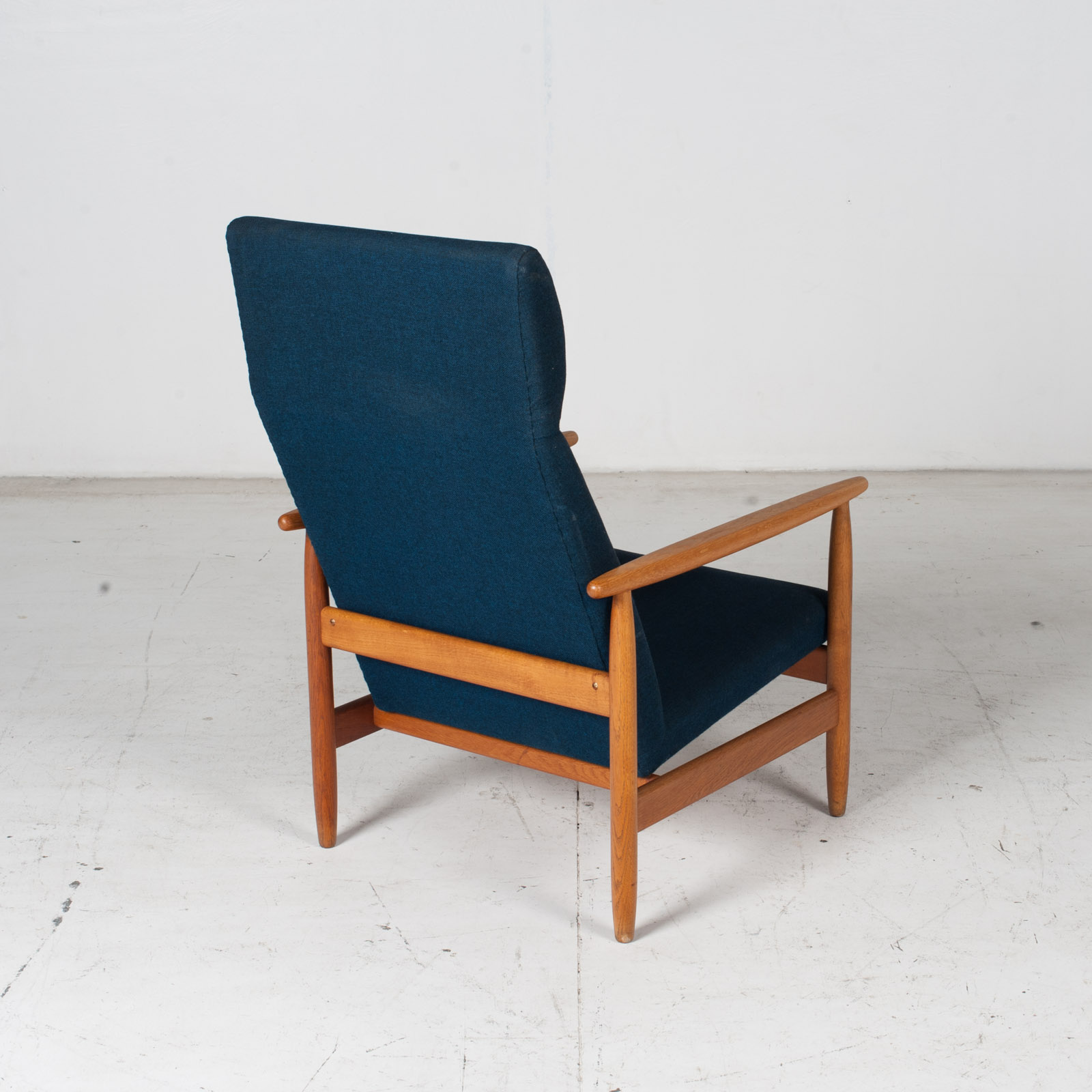 Armchair By Ejvind A. Johansson In Blue Upholstery, 1960s, Denmark9