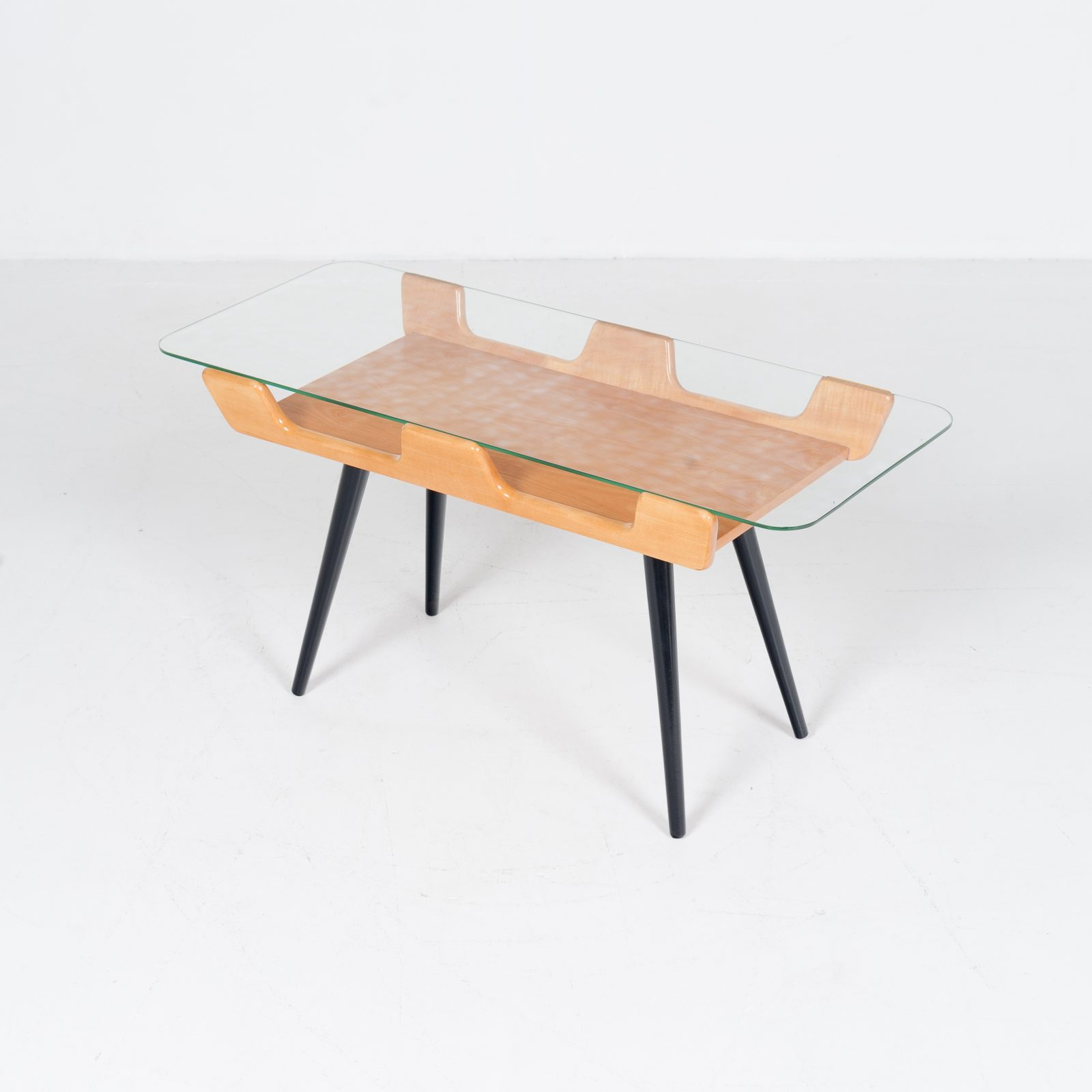 Coffee Table With Glass Top In The Style Of Gio Ponti, 1950s, Italy4