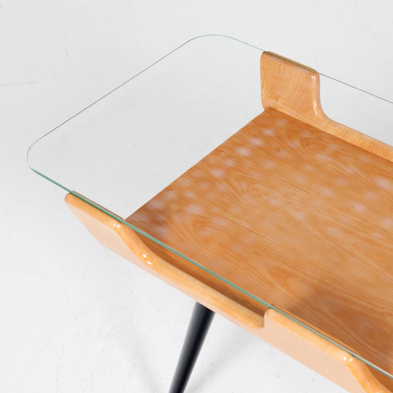Coffee Table With Glass Top In The Style Of Gio Ponti, 1950s, Italy6