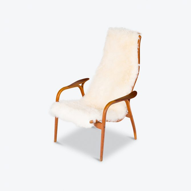 Lamino Lounge Chair By Yngve Ekstrom In White Lambskin, 1950s Hero Nofootstool Thumb