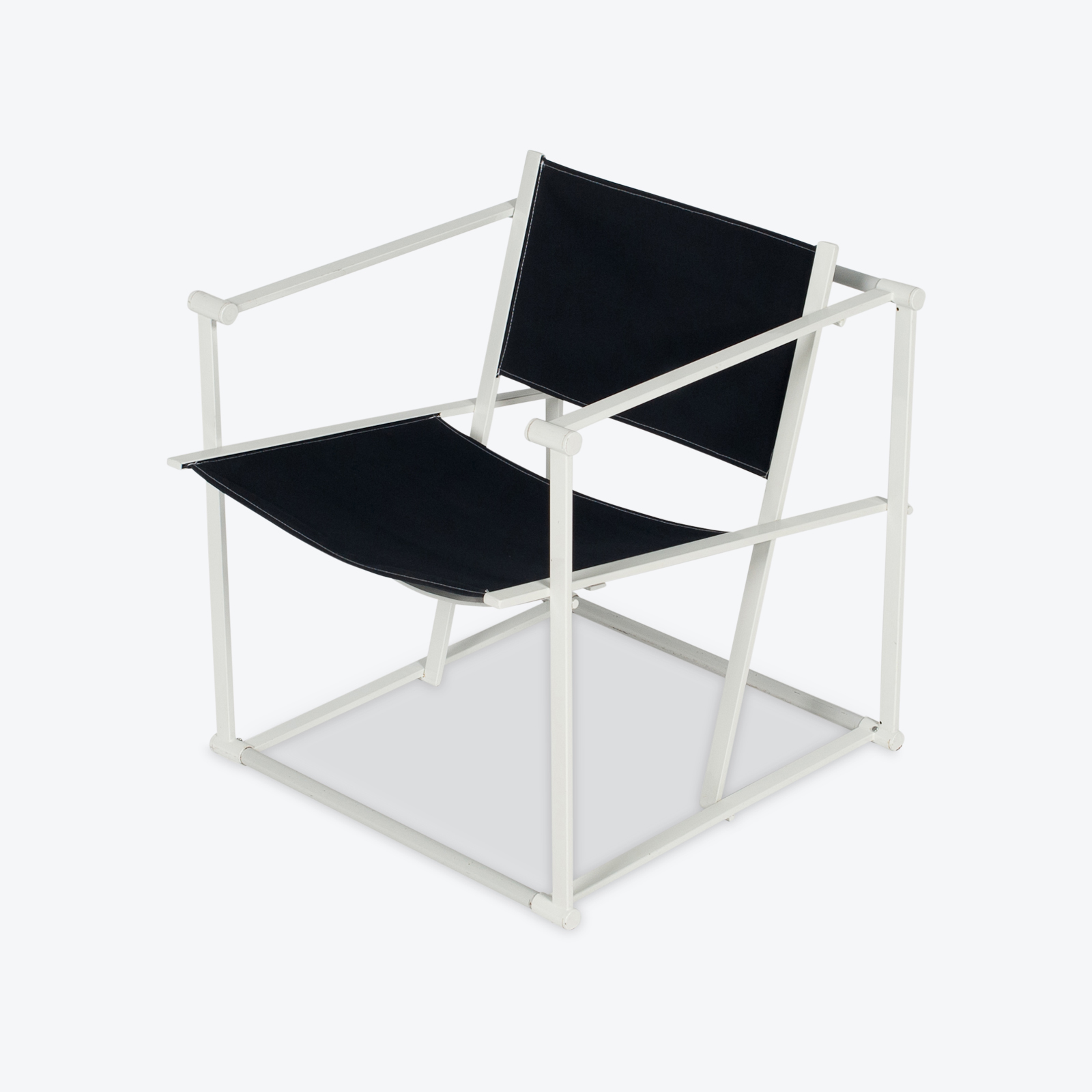Model Fm60 Cubic Chair By Radboud Van Beekum For Pastoe In Black Canvas And Grey Frame, 1980s, The Netherlands Hero