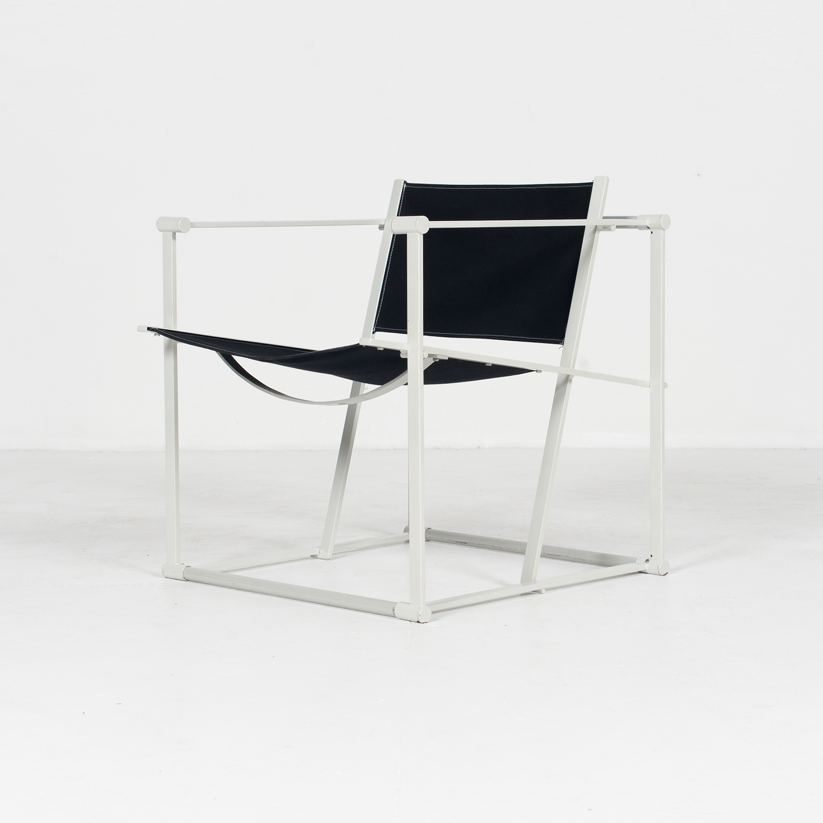 Model Fm60 Cubic Chair By Radboud Van Beekum For Pastoe In Black Canvas And Grey Frame, 1980s, The Netherlands34