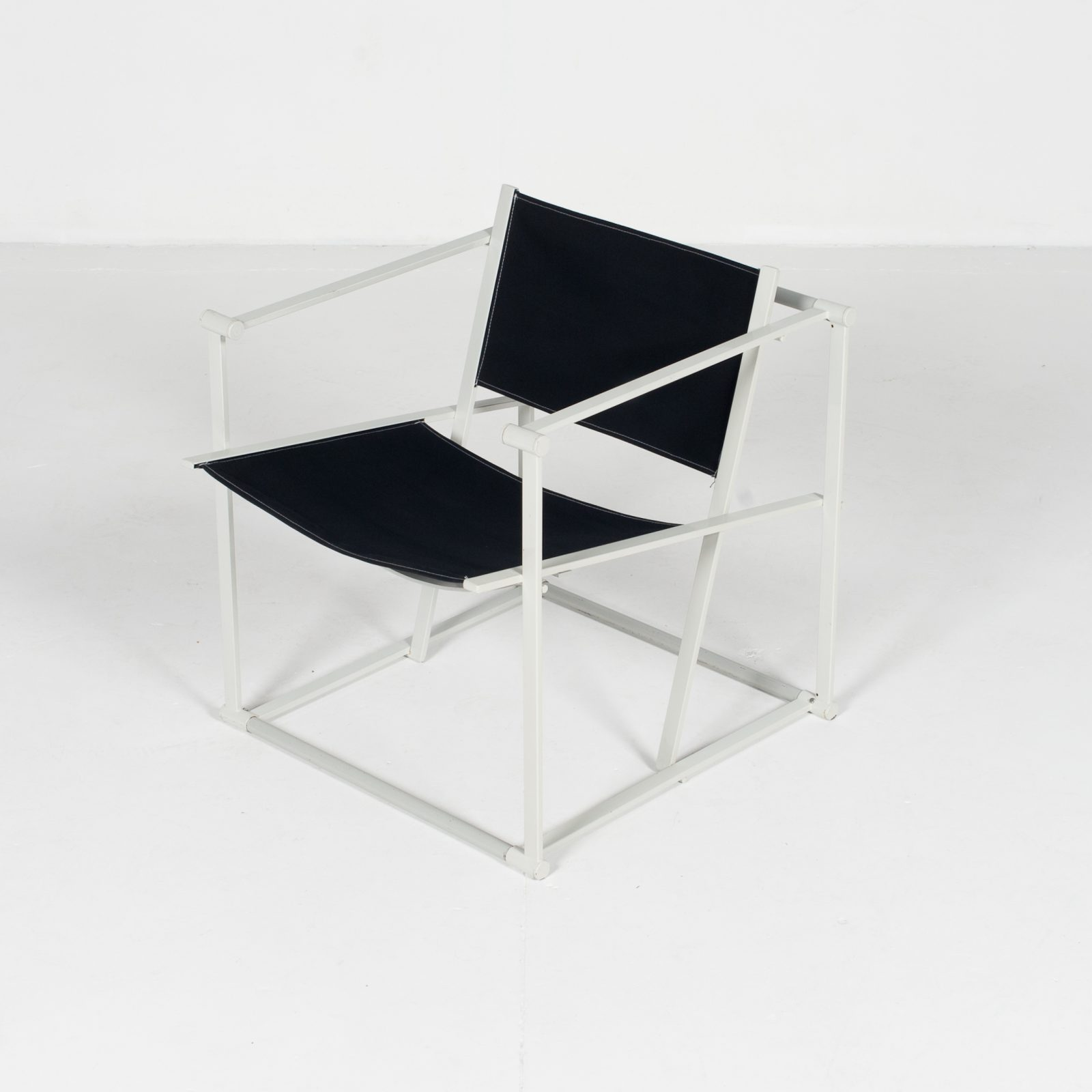 Model Fm60 Cubic Chair By Radboud Van Beekum For Pastoe In Black Canvas And Grey Frame, 1980s, The Netherlands35