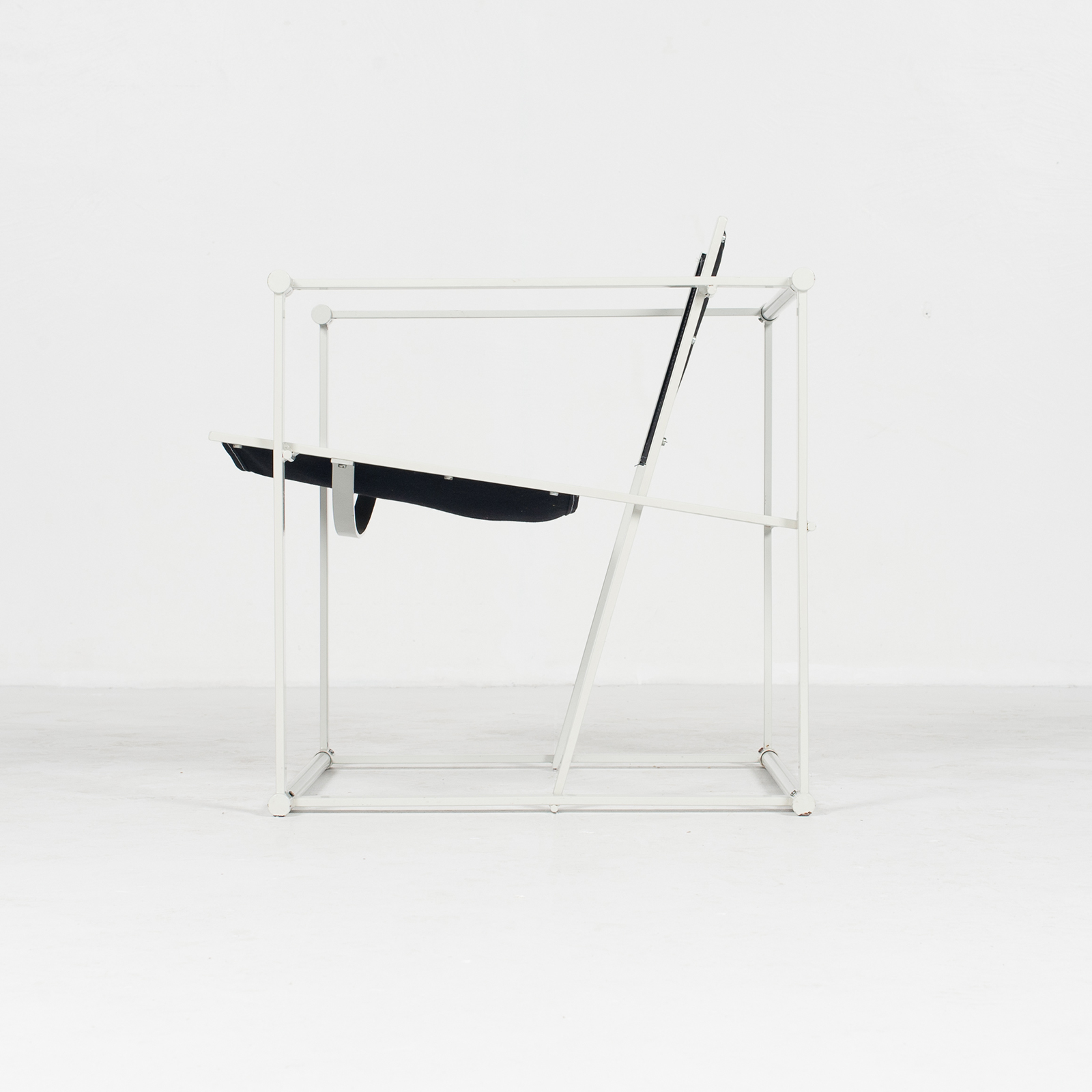 Model Fm60 Cubic Chair By Radboud Van Beekum For Pastoe In Black Canvas And Grey Frame, 1980s, The Netherlands36