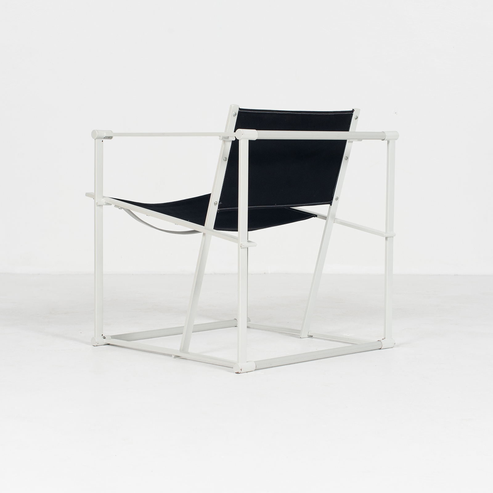 Model Fm60 Cubic Chair By Radboud Van Beekum For Pastoe In Black Canvas And Grey Frame, 1980s, The Netherlands37