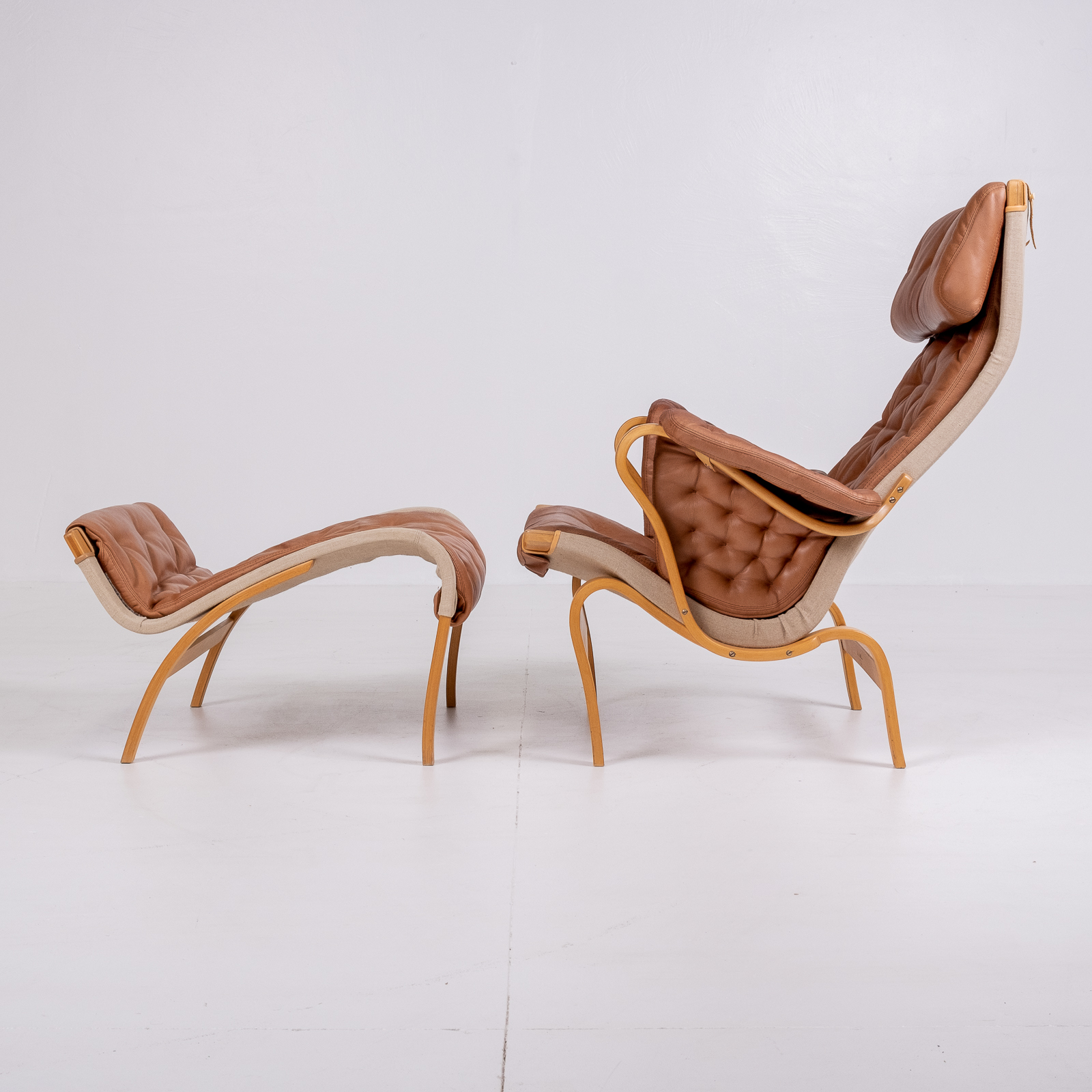 Pernilla 69 Chair With Footstool By Bruno Mathsson For Dux, 1960s, Sweden 02