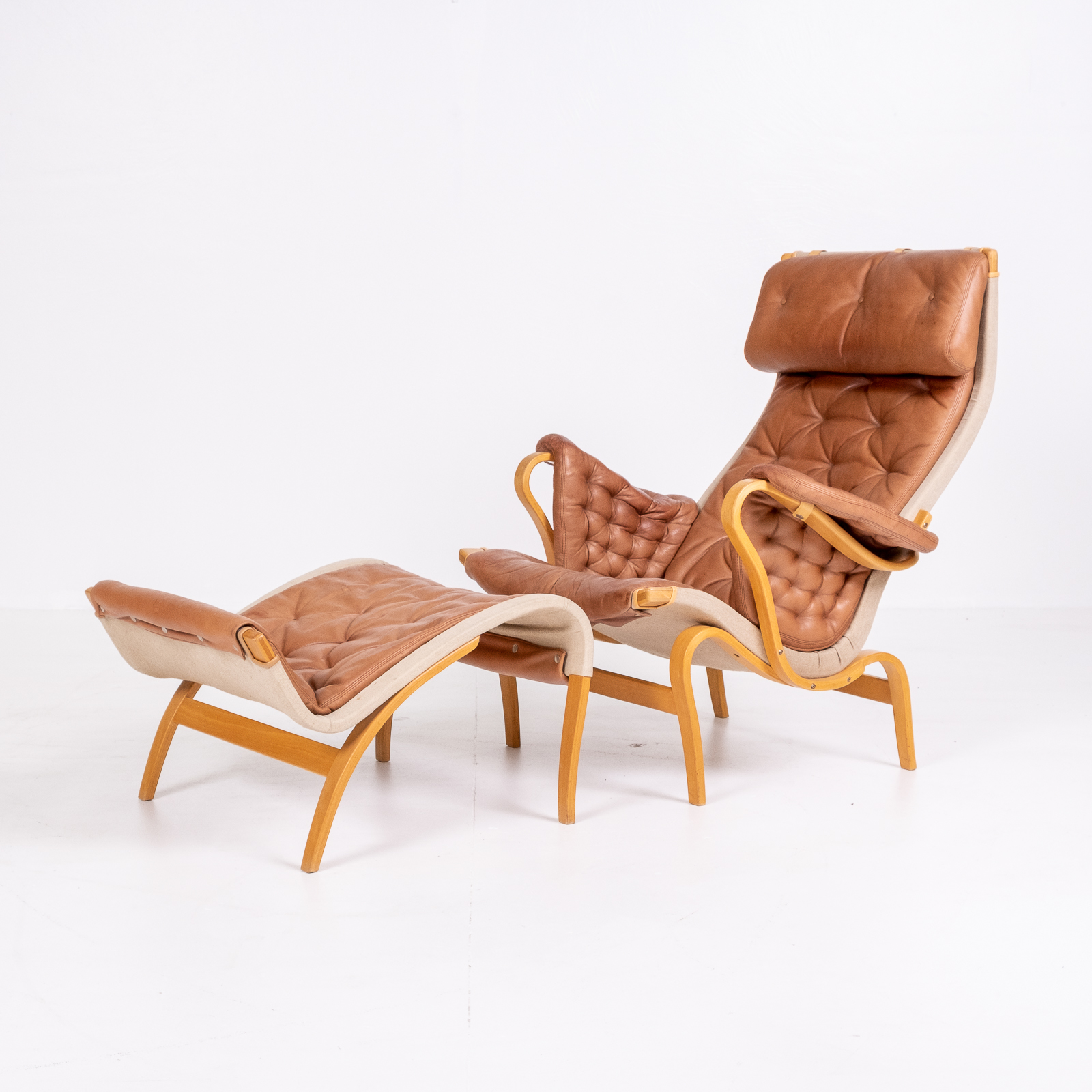Pernilla 69 Chair With Footstool By Bruno Mathsson For Dux, 1960s, Sweden 03