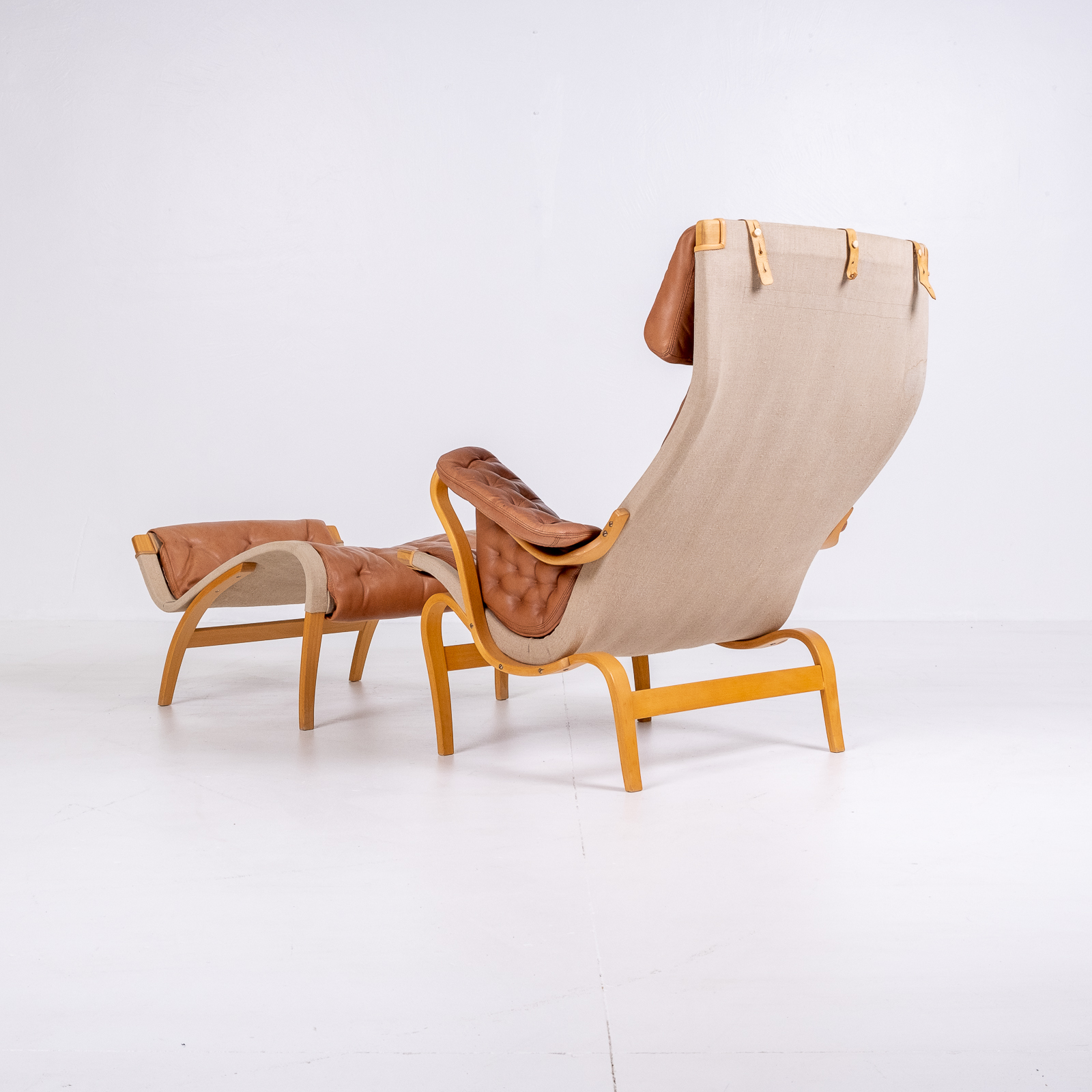 Pernilla 69 Chair With Footstool By Bruno Mathsson For Dux, 1960s, Sweden 04