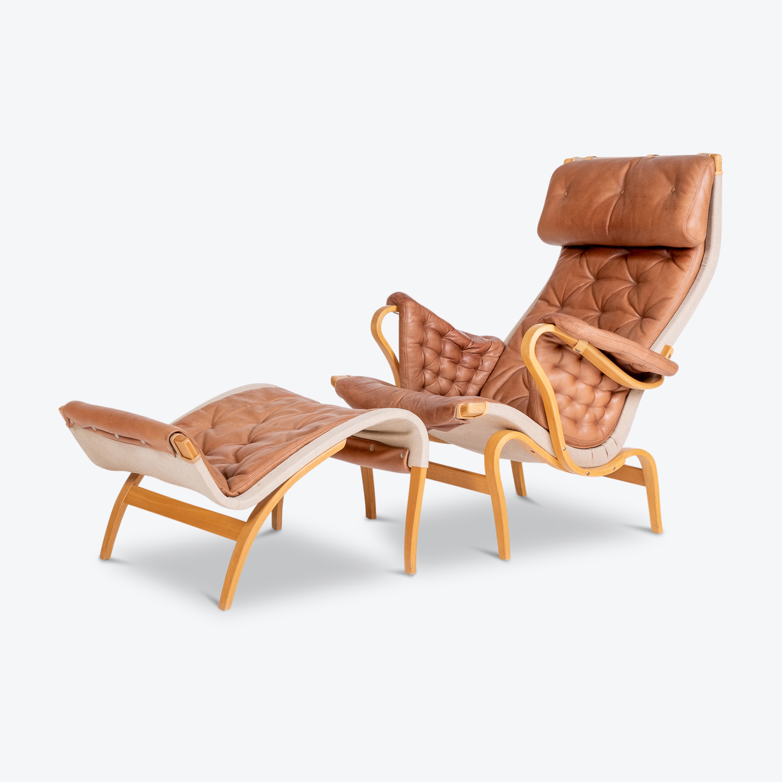 Pernilla 69 Chair With Footstool By Bruno Mathsson For Dux, 1960s, Sweden Hero