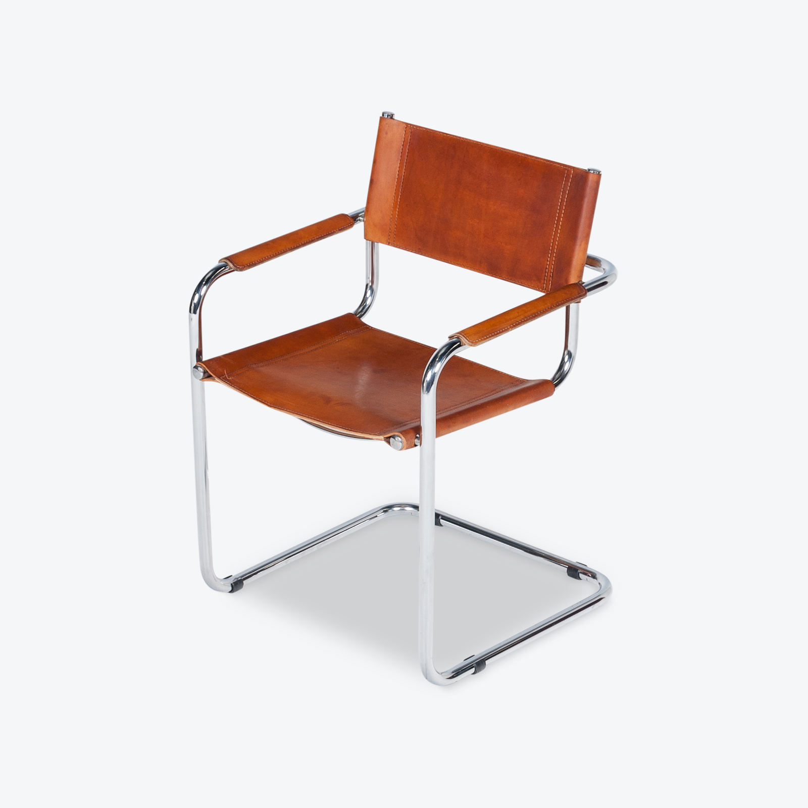 Set Of 4 Model S34 Cantilever Chairs In Tan Leather By Mart Stam For Thonet, 1980s, Germany Hero