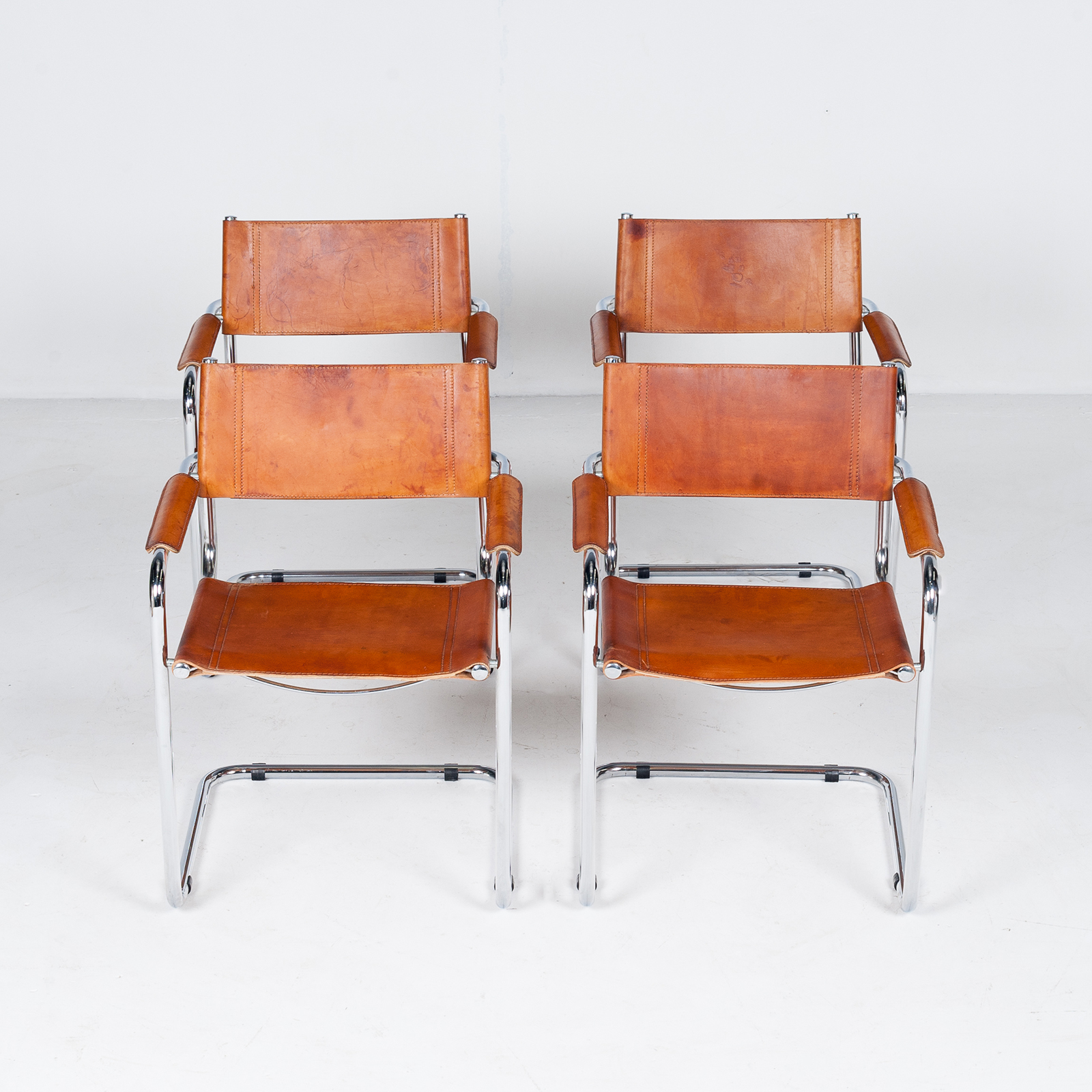 Set Of 4 Model S34 Cantilever Chairs In Tan Leather By Mart Stam For Thonet, 1980s, Germany29