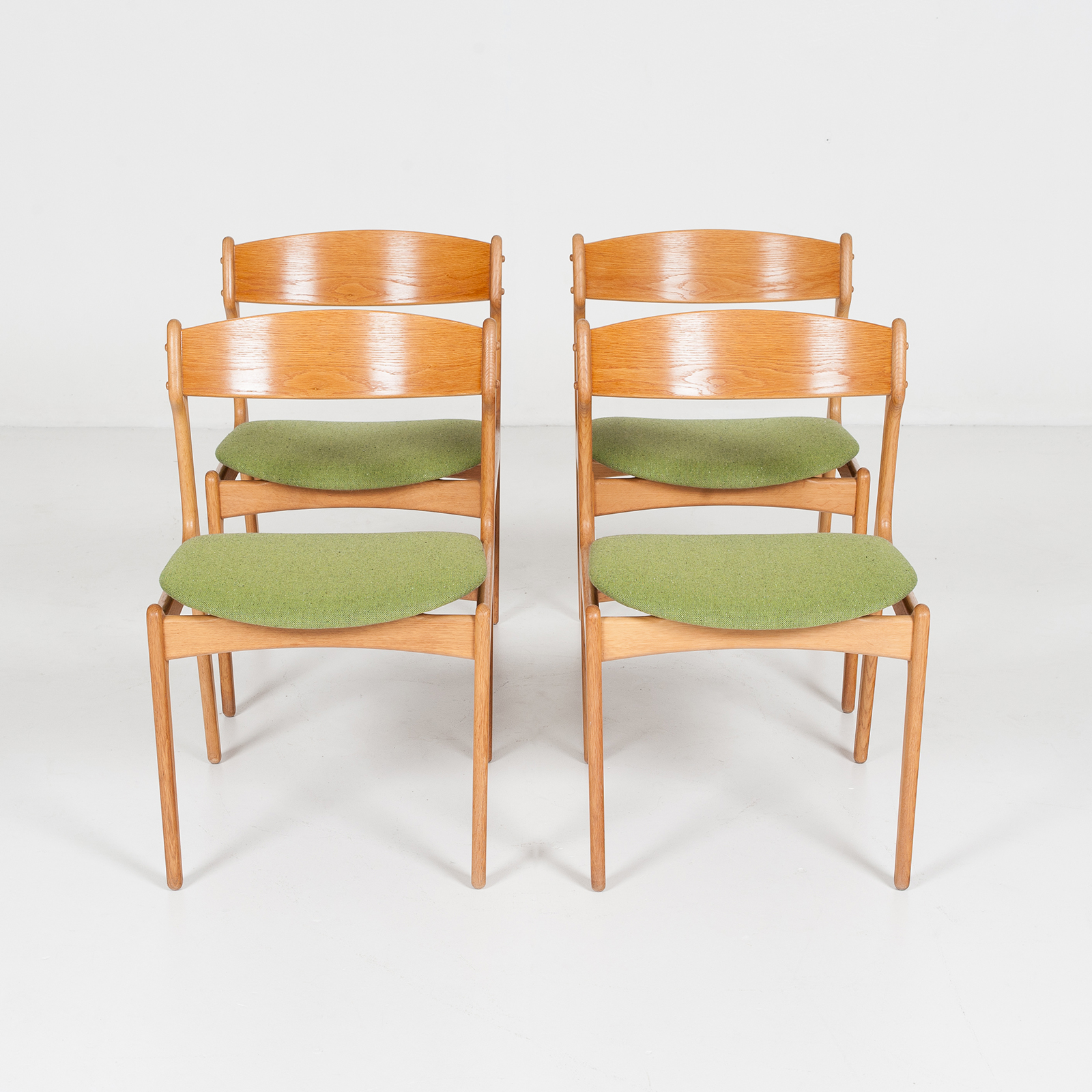 Set Of Four Dining Chairs By Erik Buch For O.d. Mobler In Oak And Green Upholstery, 1960s, Denmark88