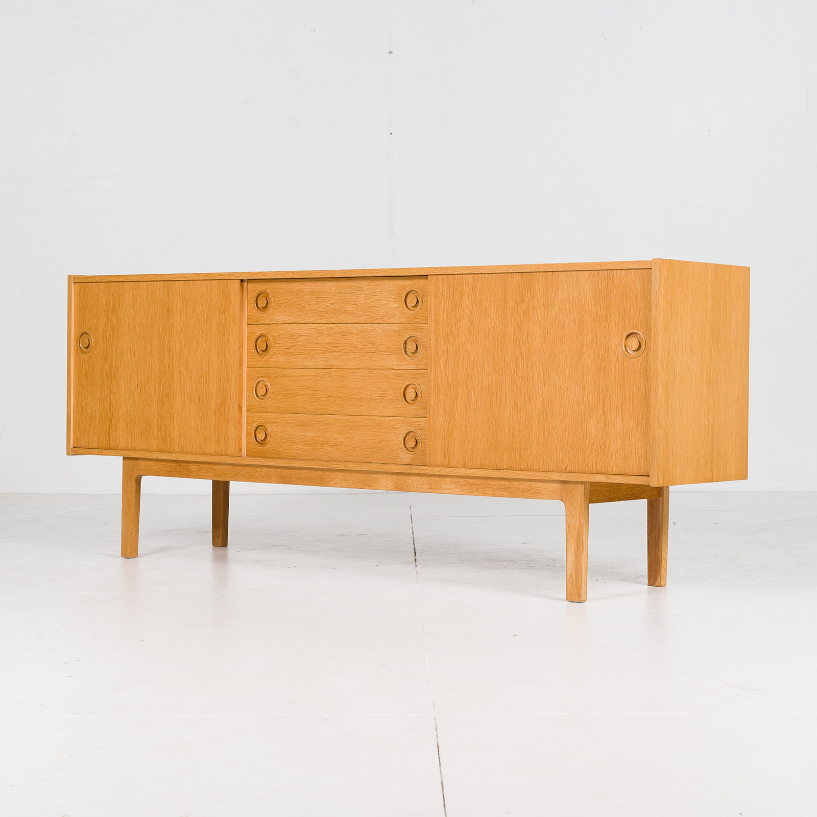 Sideboard In Oak With Drawers And Sliding Doors, 1960s, Denmark401