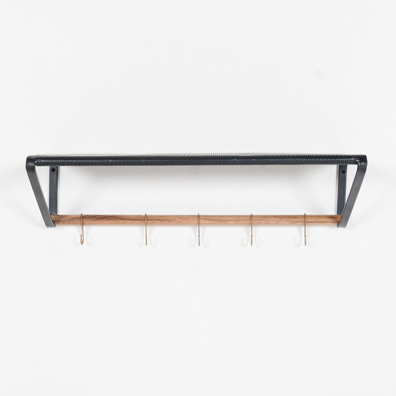 Wall Mounted Coat Rack In Black Perforated Metal With Brass Hooks 1950s The Netherlands Modern Times