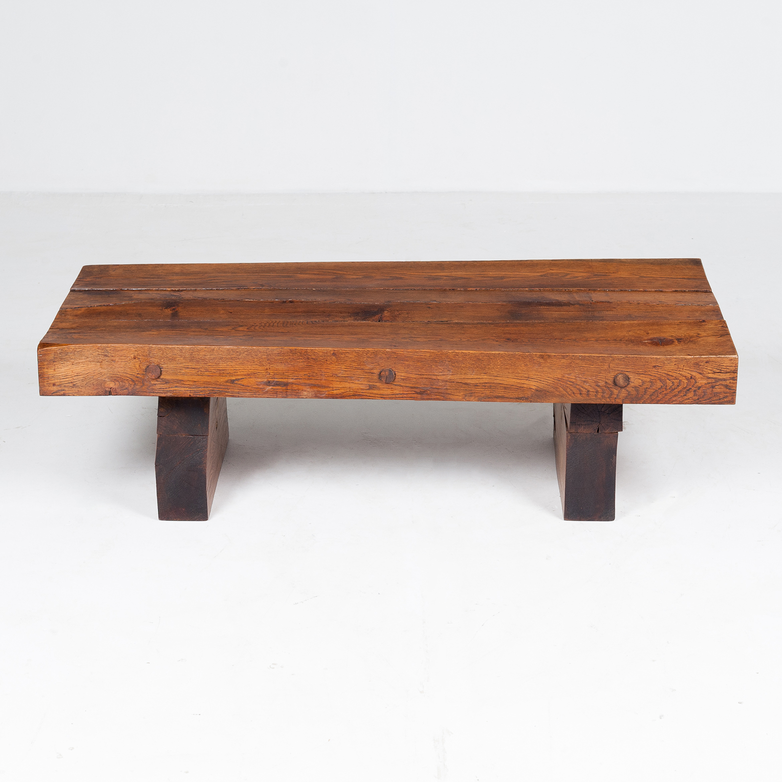 Brutalist Style Coffee Table In Timber, 1960s, The Netherlands 796